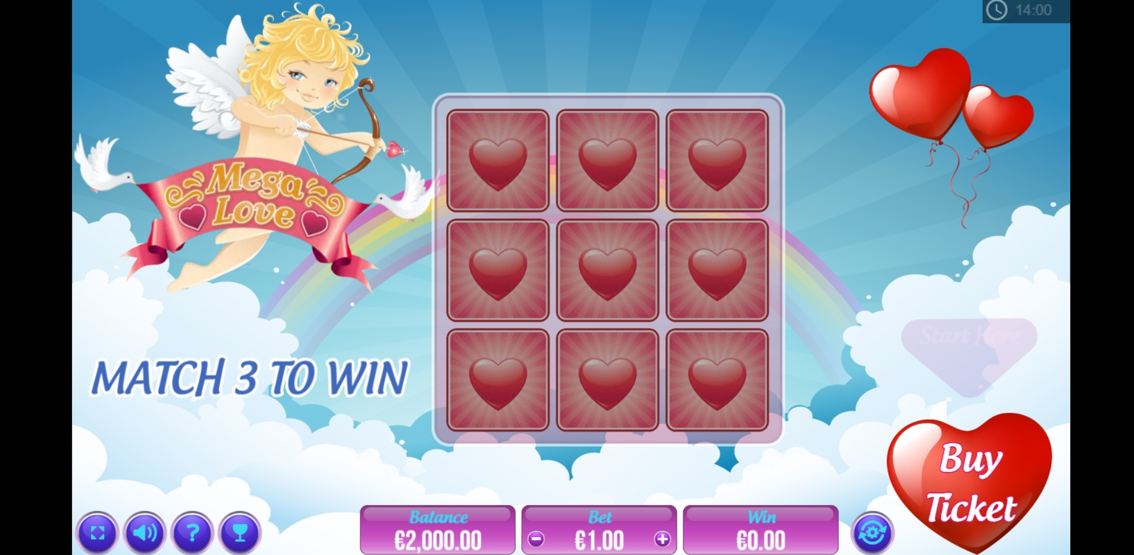 Reels in Mega Love Scratch Slot Game by PariPlay