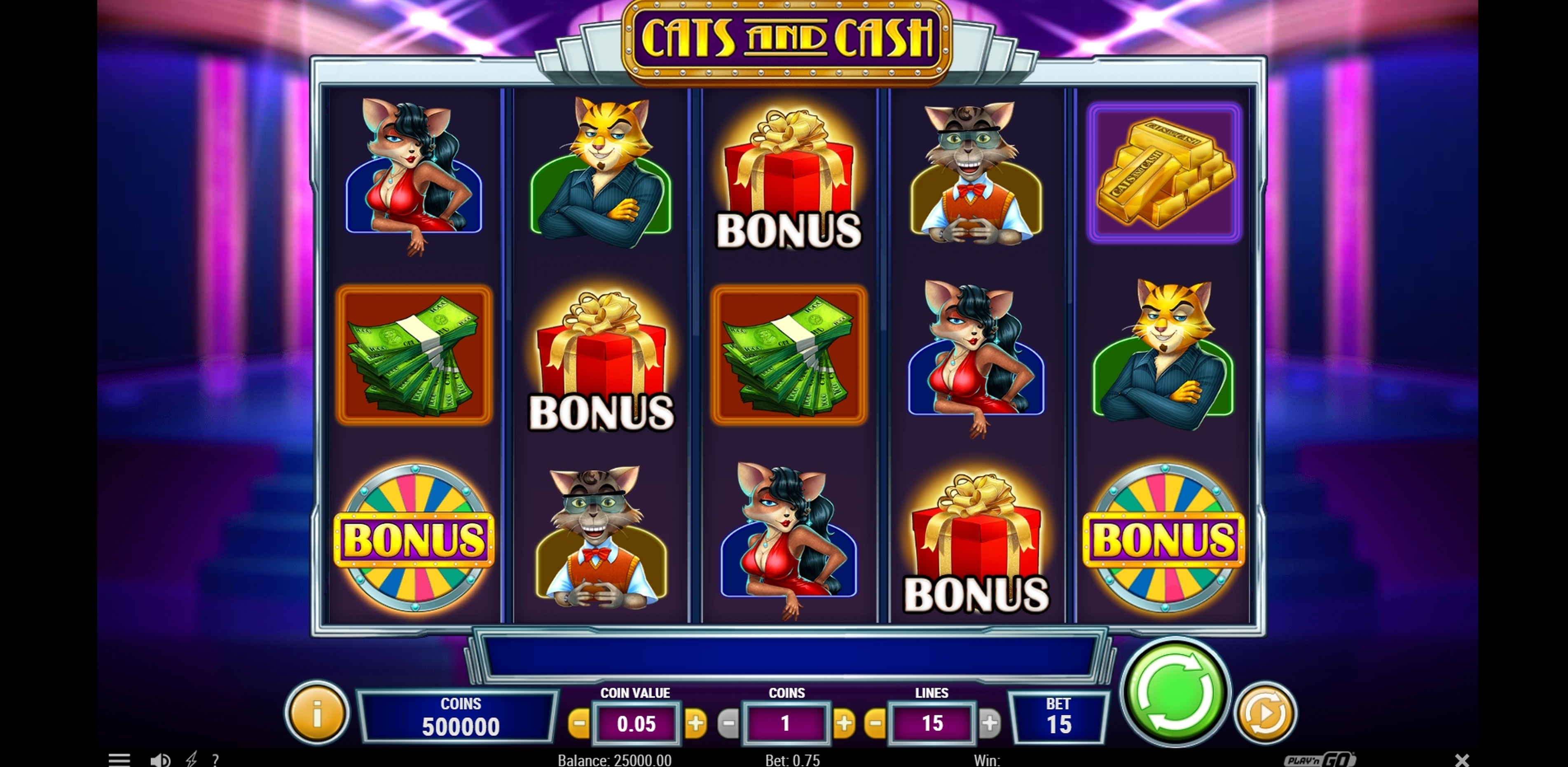 Reels in Cats and Cash Slot Game by Playn GO