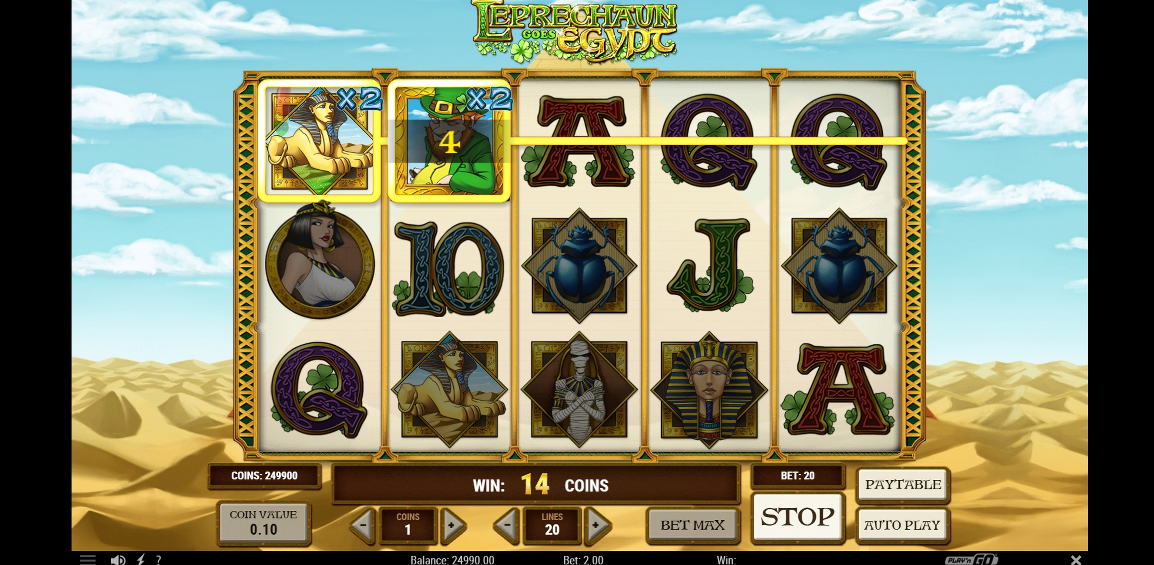 Win Money in Leprechaun goes Egypt Free Slot Game by Playn GO