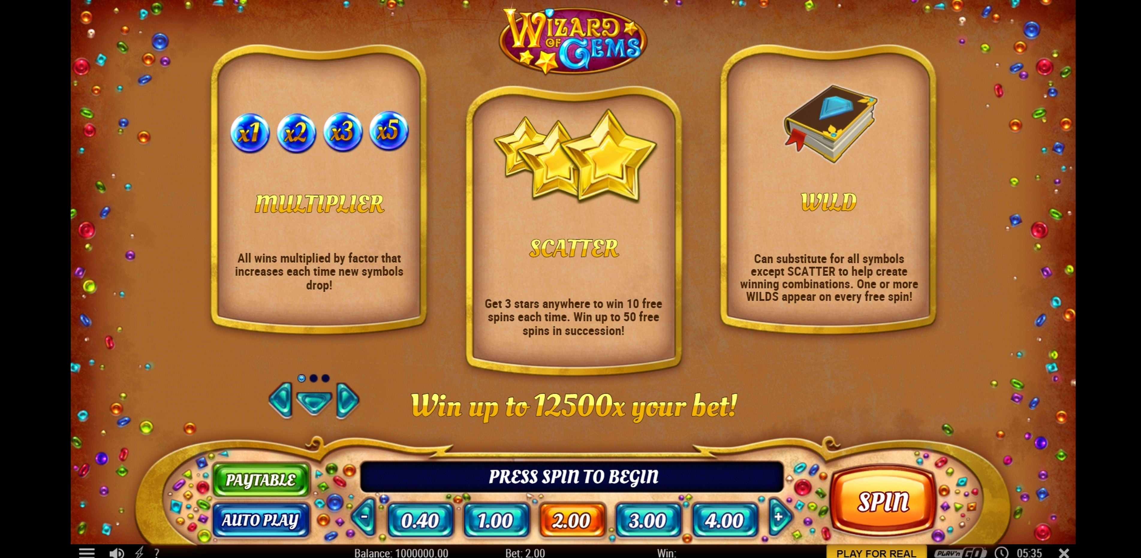 Info of Wizard of Gems Slot Game by Play'n Go
