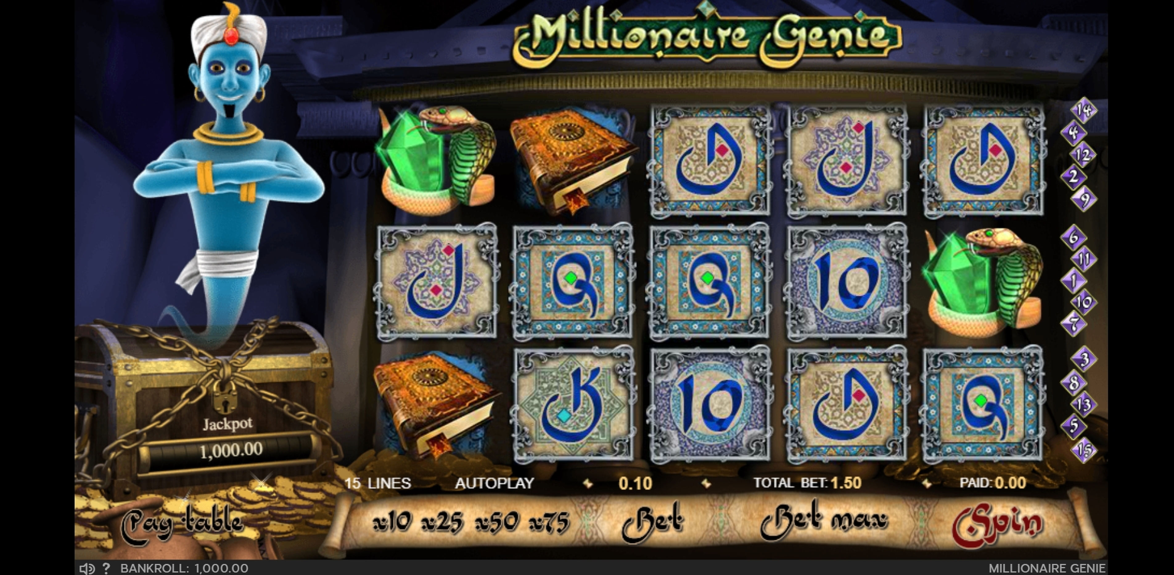Reels in Millionaire Genie Slot Game by GVG
