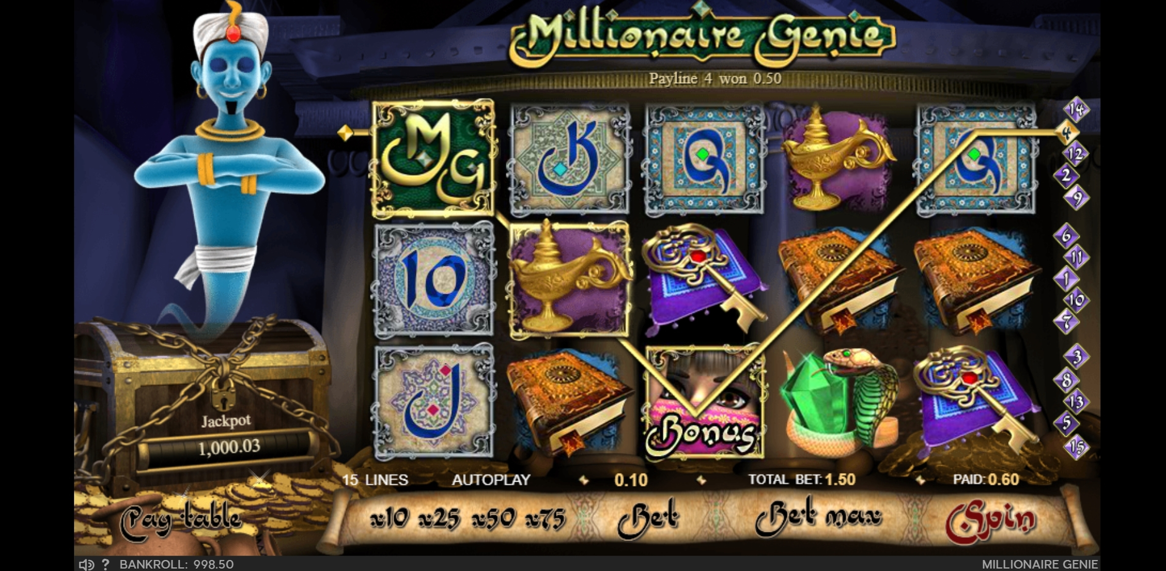 Win Money in Millionaire Genie Free Slot Game by GVG