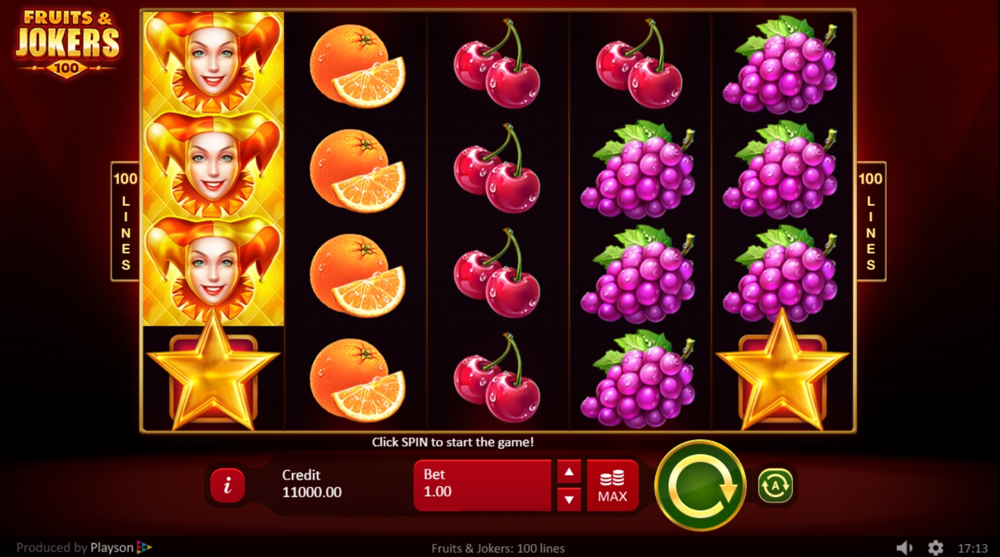 Reels in Fruits & Jokers: 100 lines Slot Game by Playson