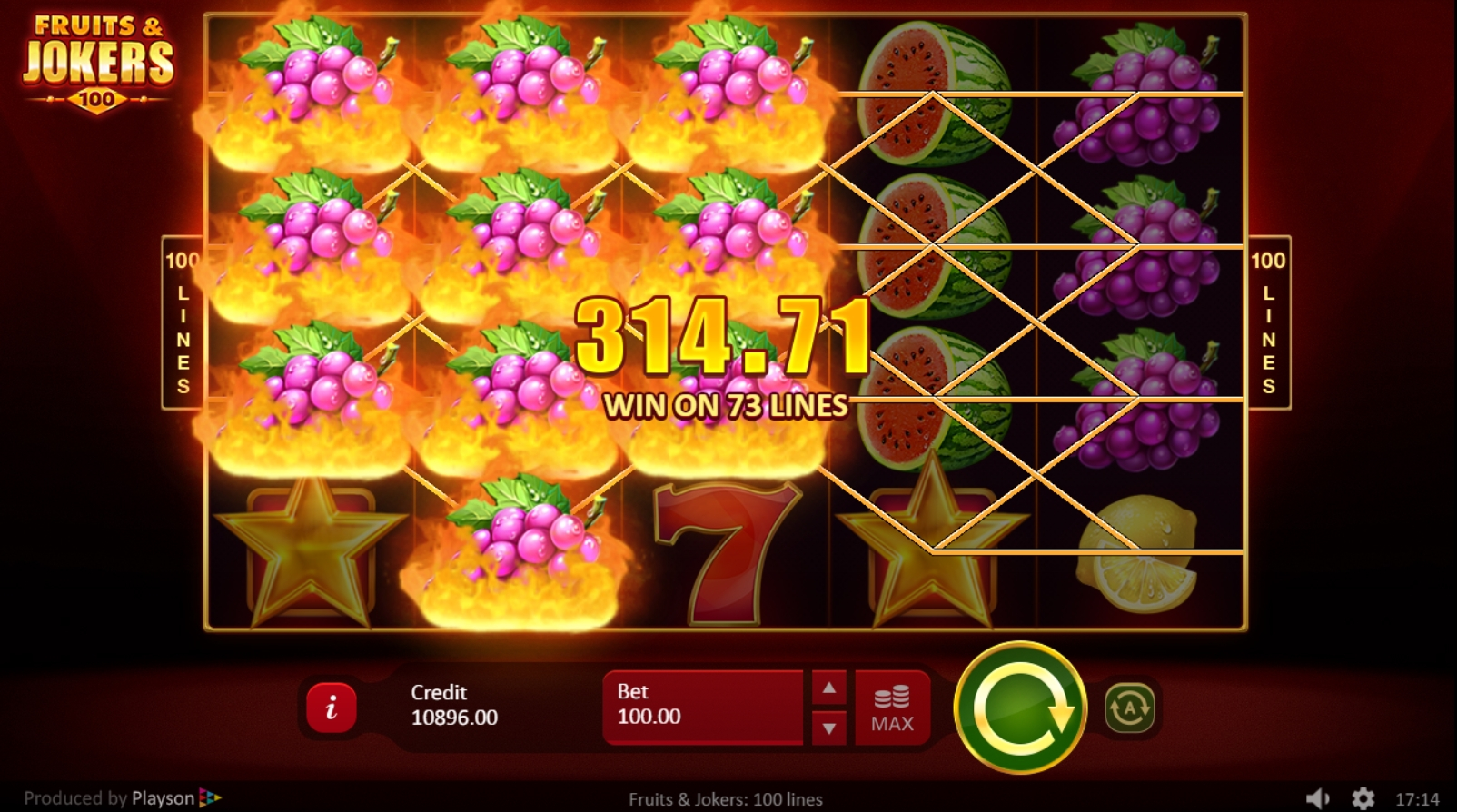 Win Money in Fruits & Jokers: 100 lines Free Slot Game by Playson