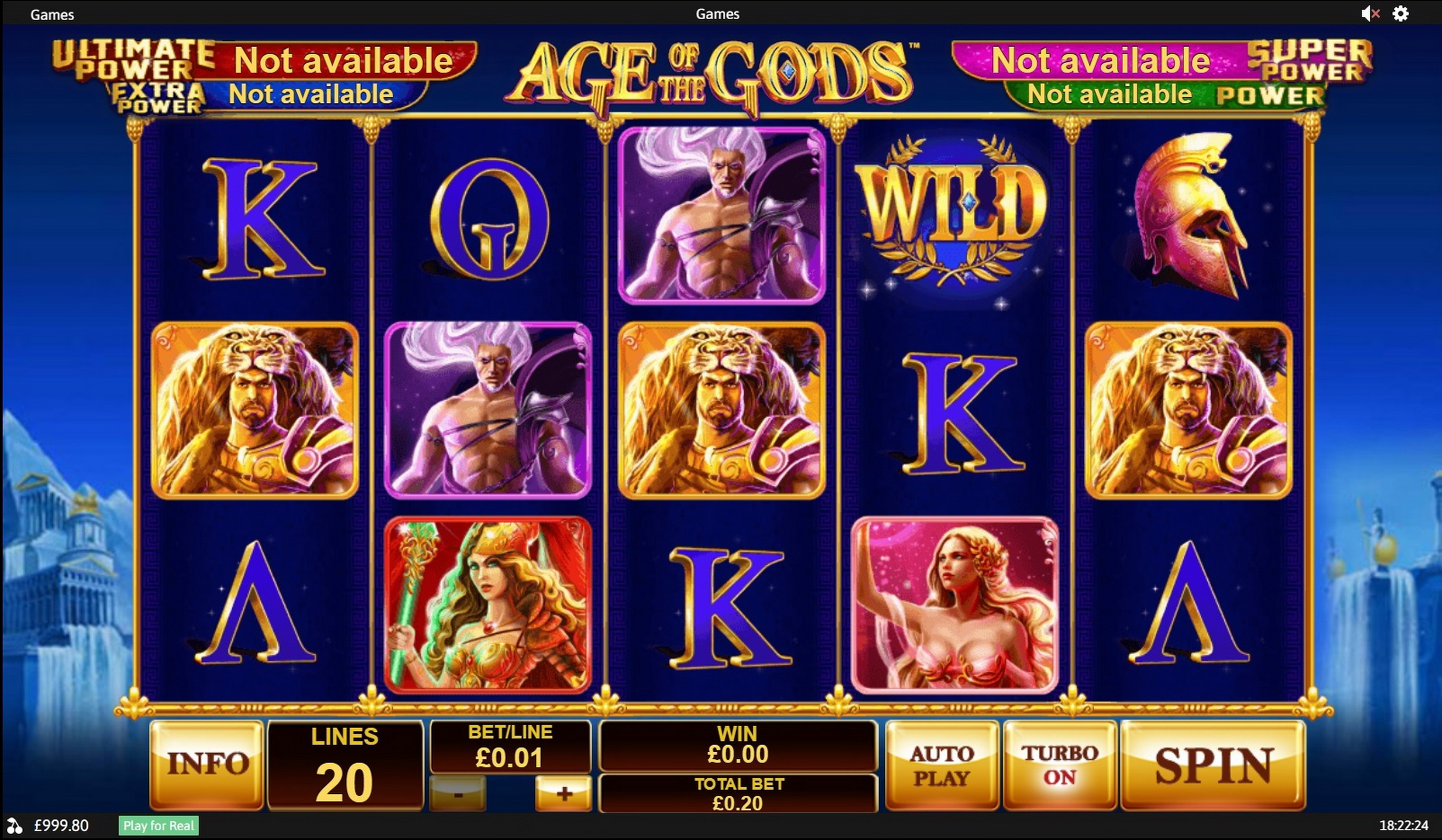 Reels in Age of the Gods Slot Game by Playtech