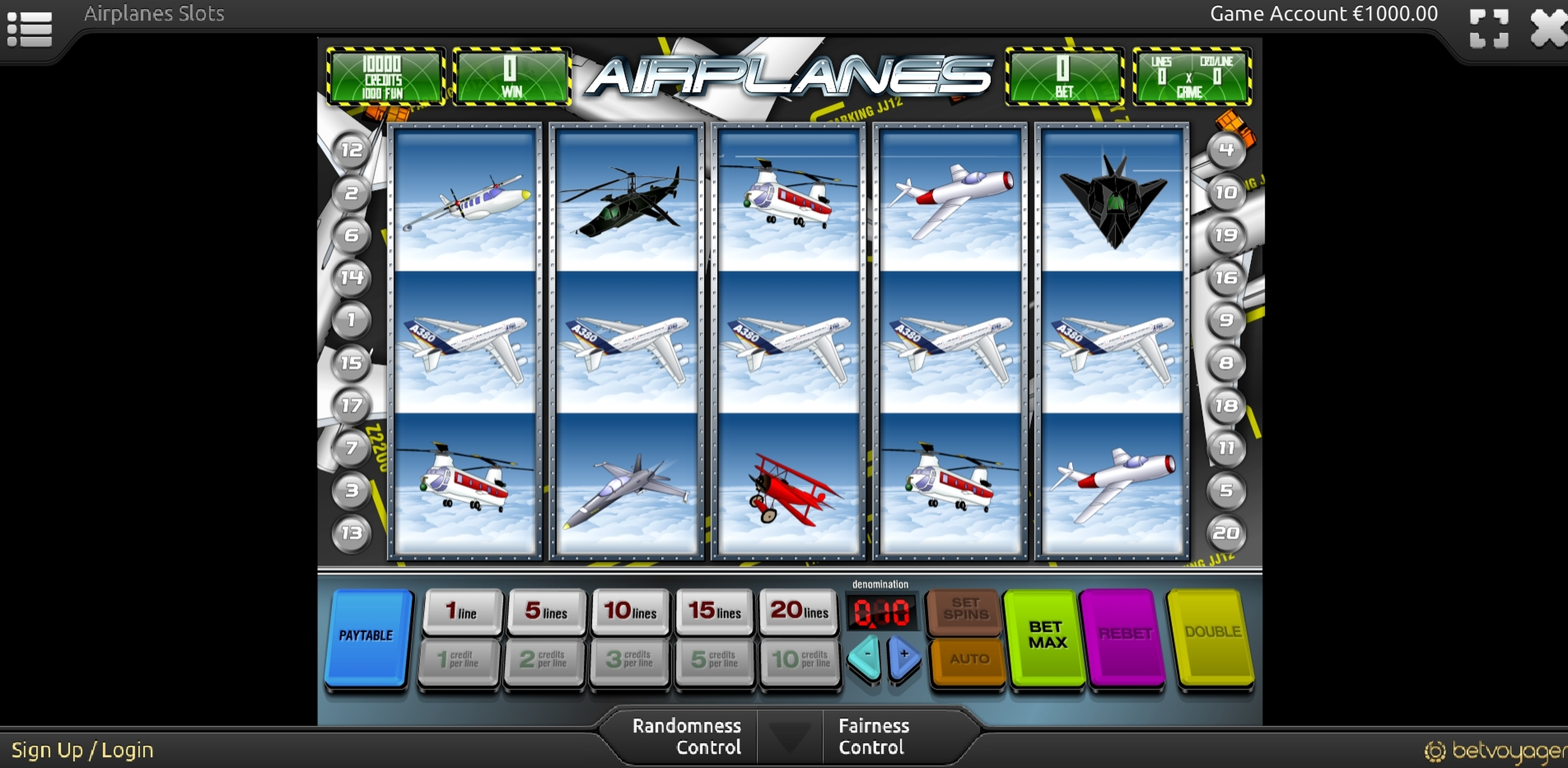 Reels in Airplanes Slot Game by Portomaso Gaming
