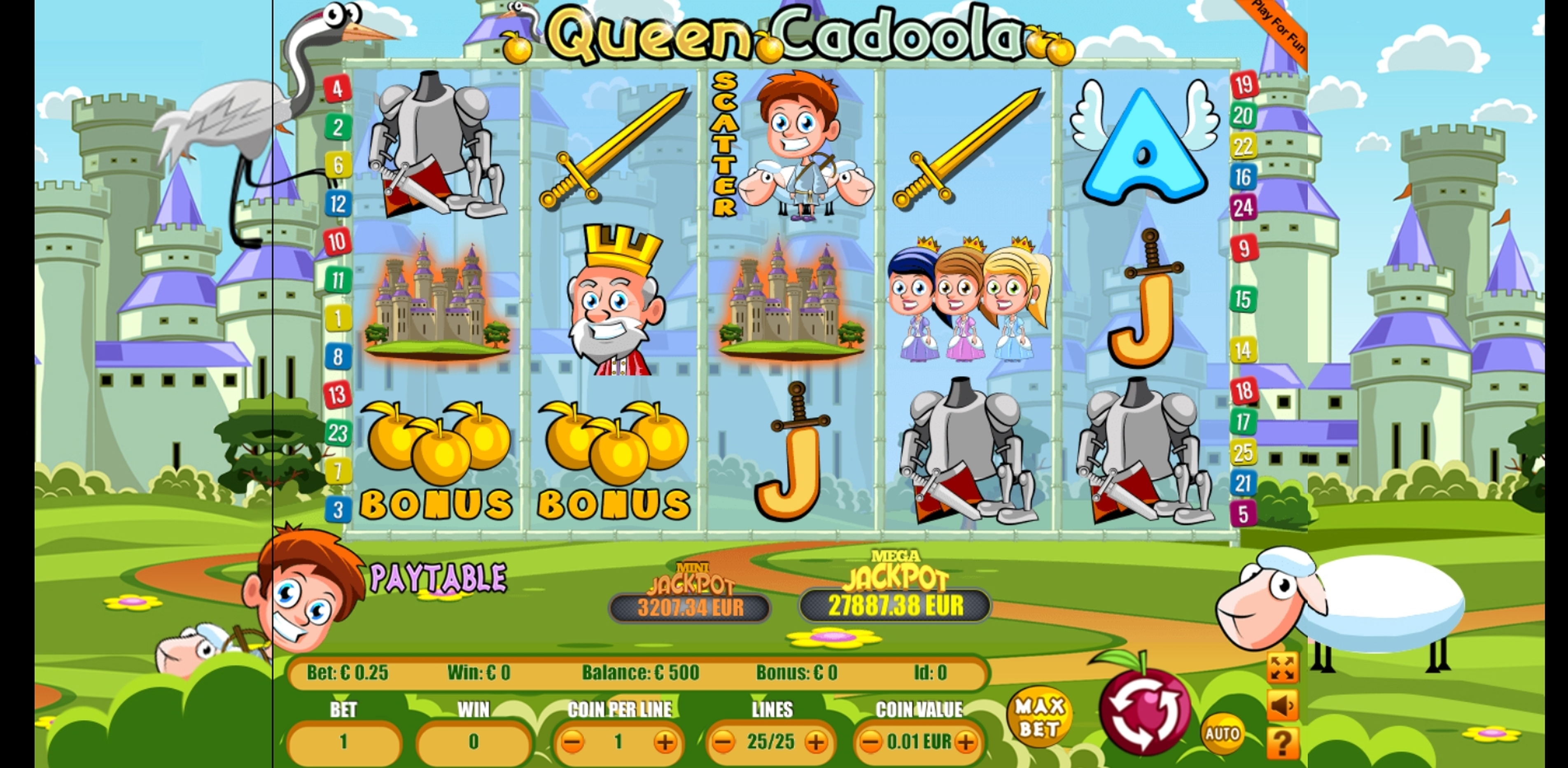 Reels in Queen Cadoola Slot Game by Portomaso Gaming