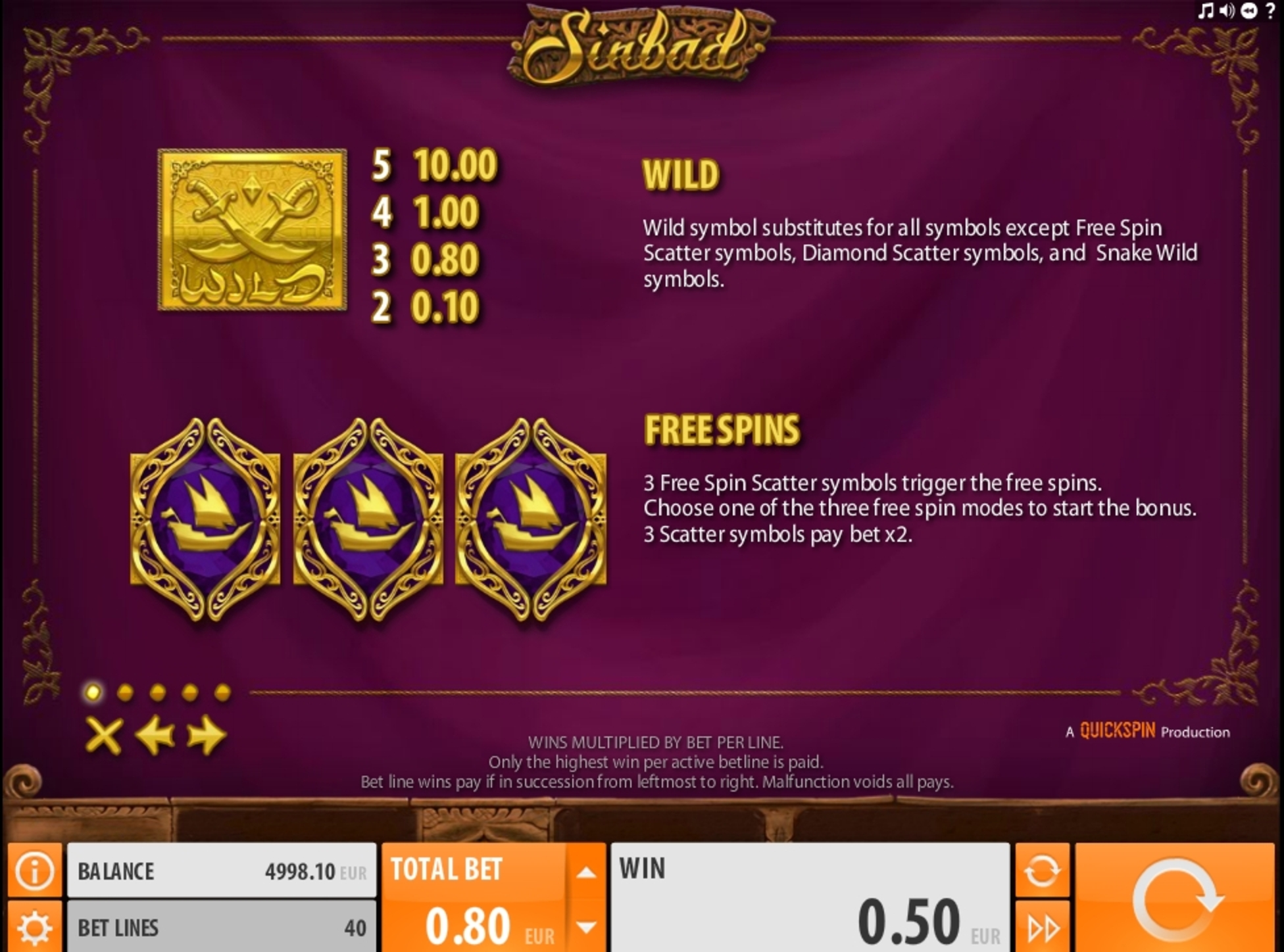 Info of Sinbad (Quickspin) Slot Game by Quickspin