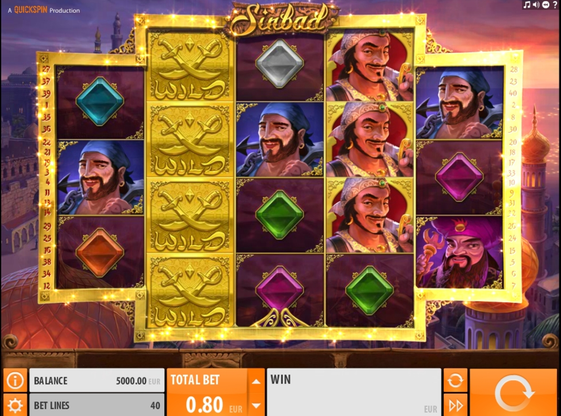 Reels in Sinbad (Quickspin) Slot Game by Quickspin