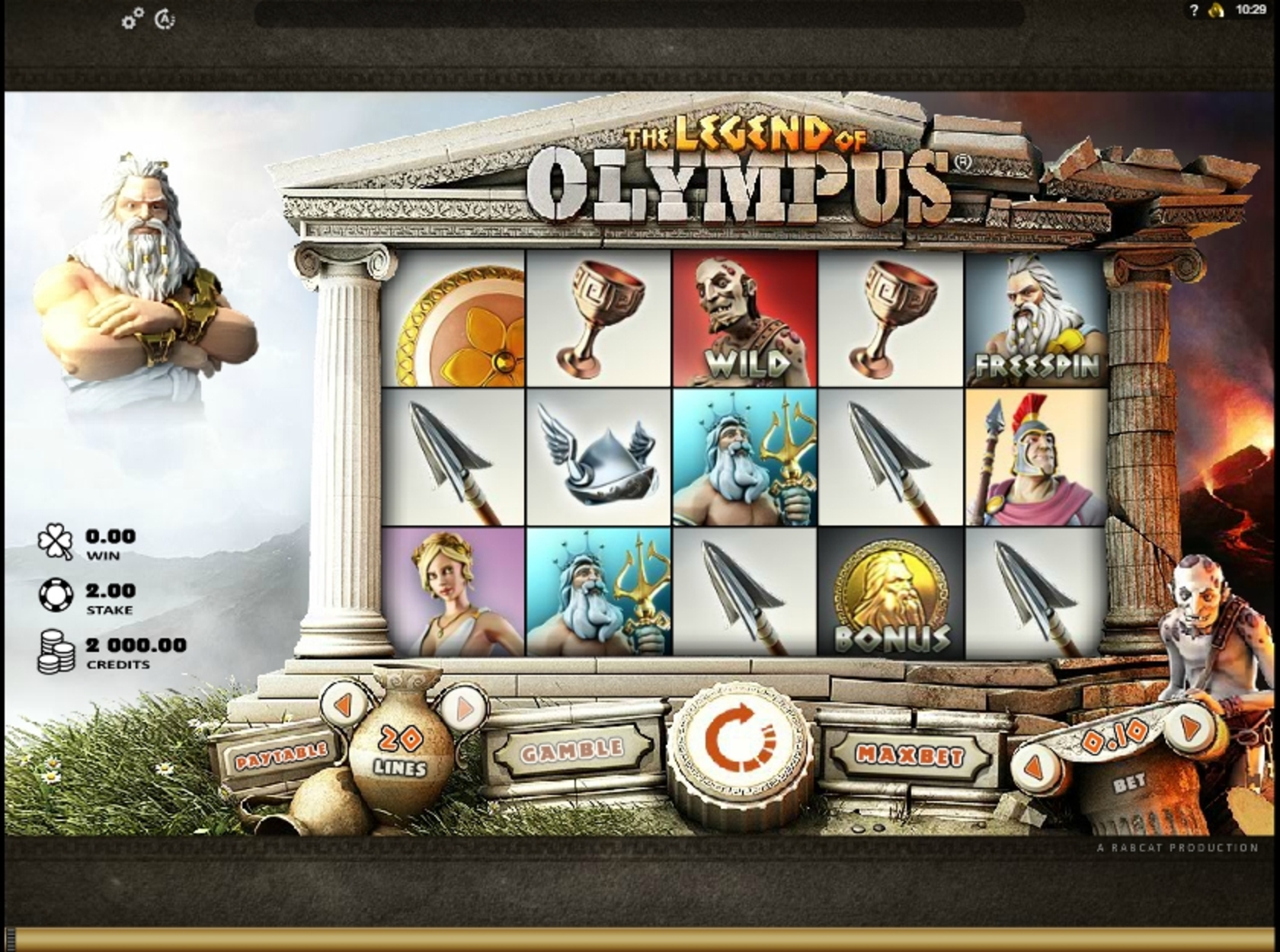 Reels in Legend of Olympus Slot Game by Rabcat
