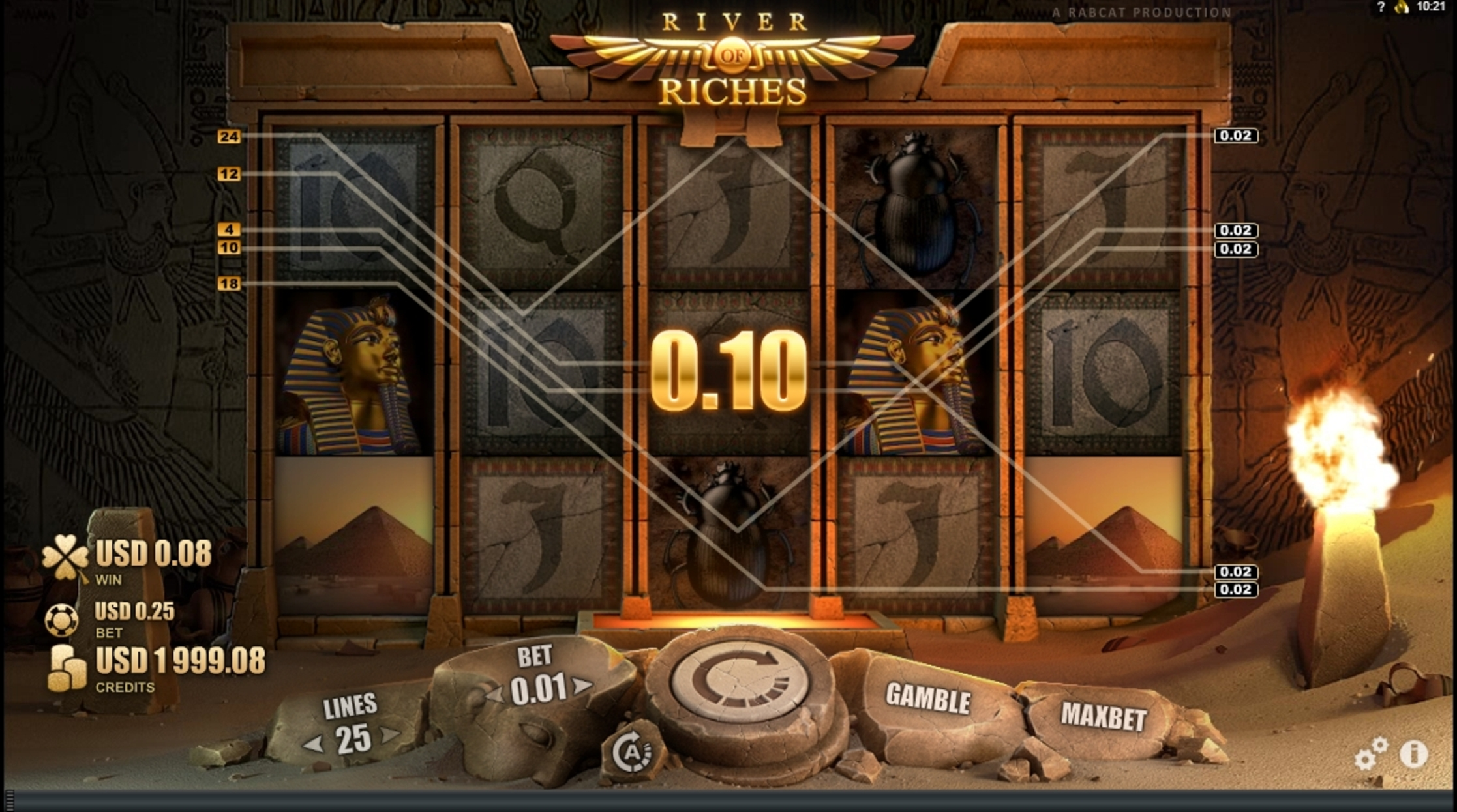 Win Money in River of Riches Free Slot Game by Rabcat