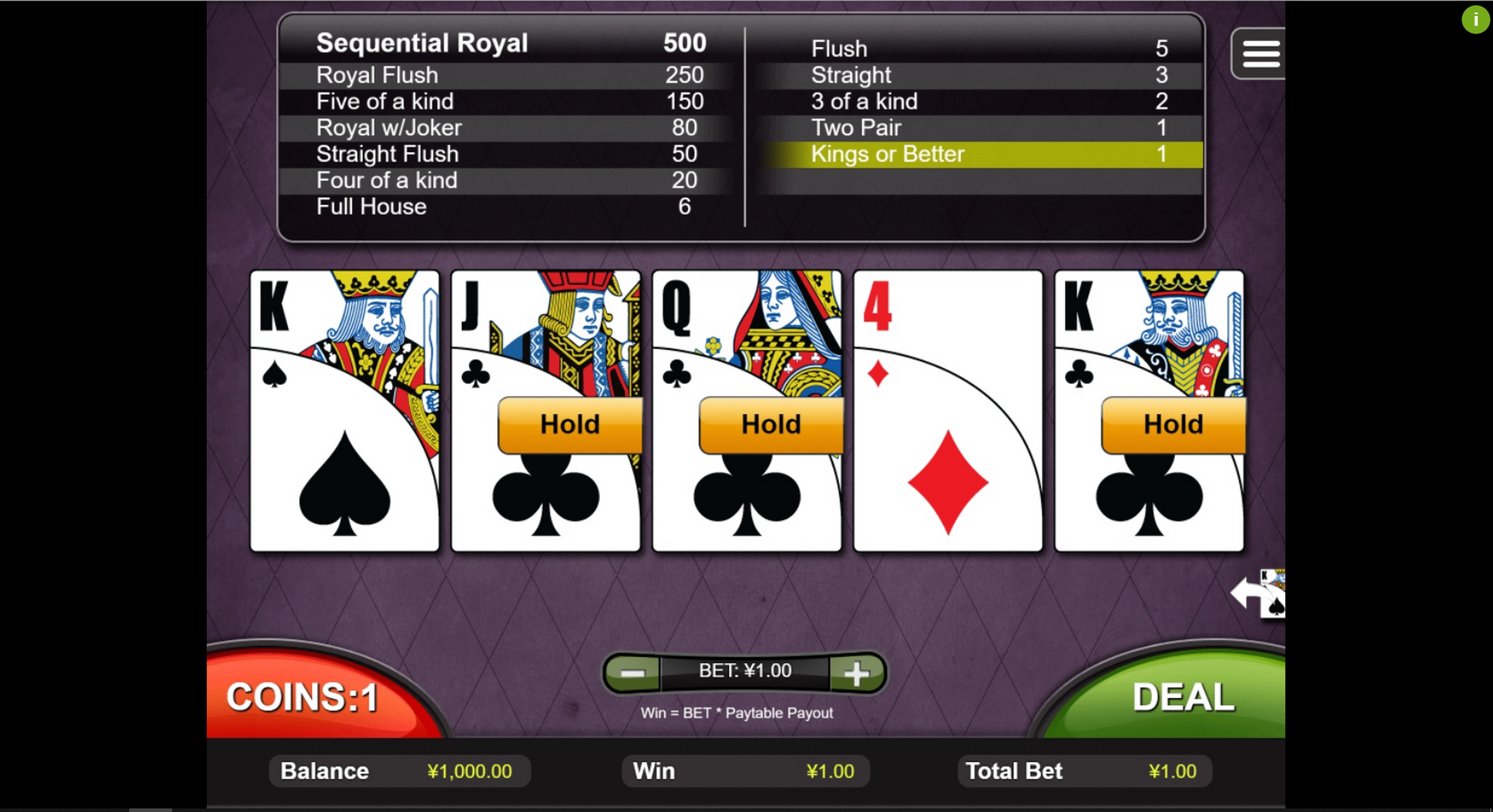 Win Money in Joker Poker (RTG) Free Slot Game by Real Time Gaming