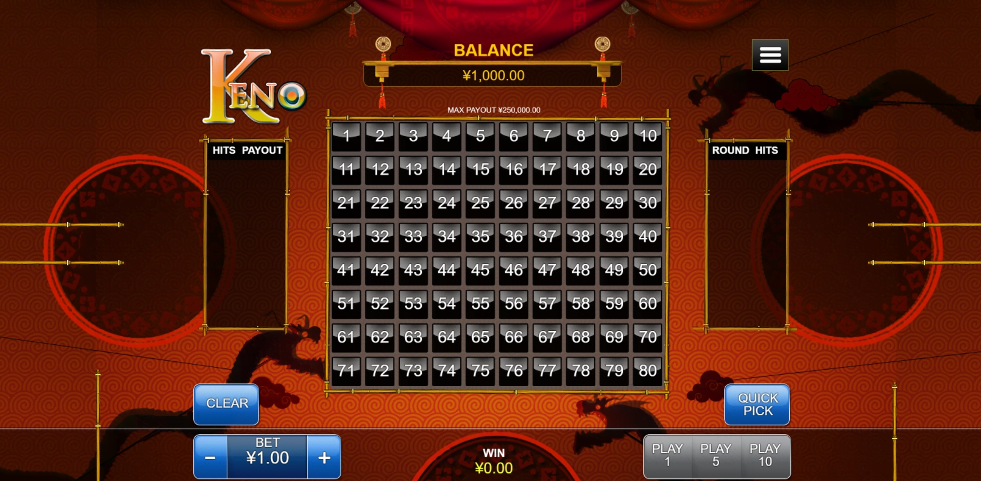 Reels in Keno (RTG) Slot Game by Real Time Gaming