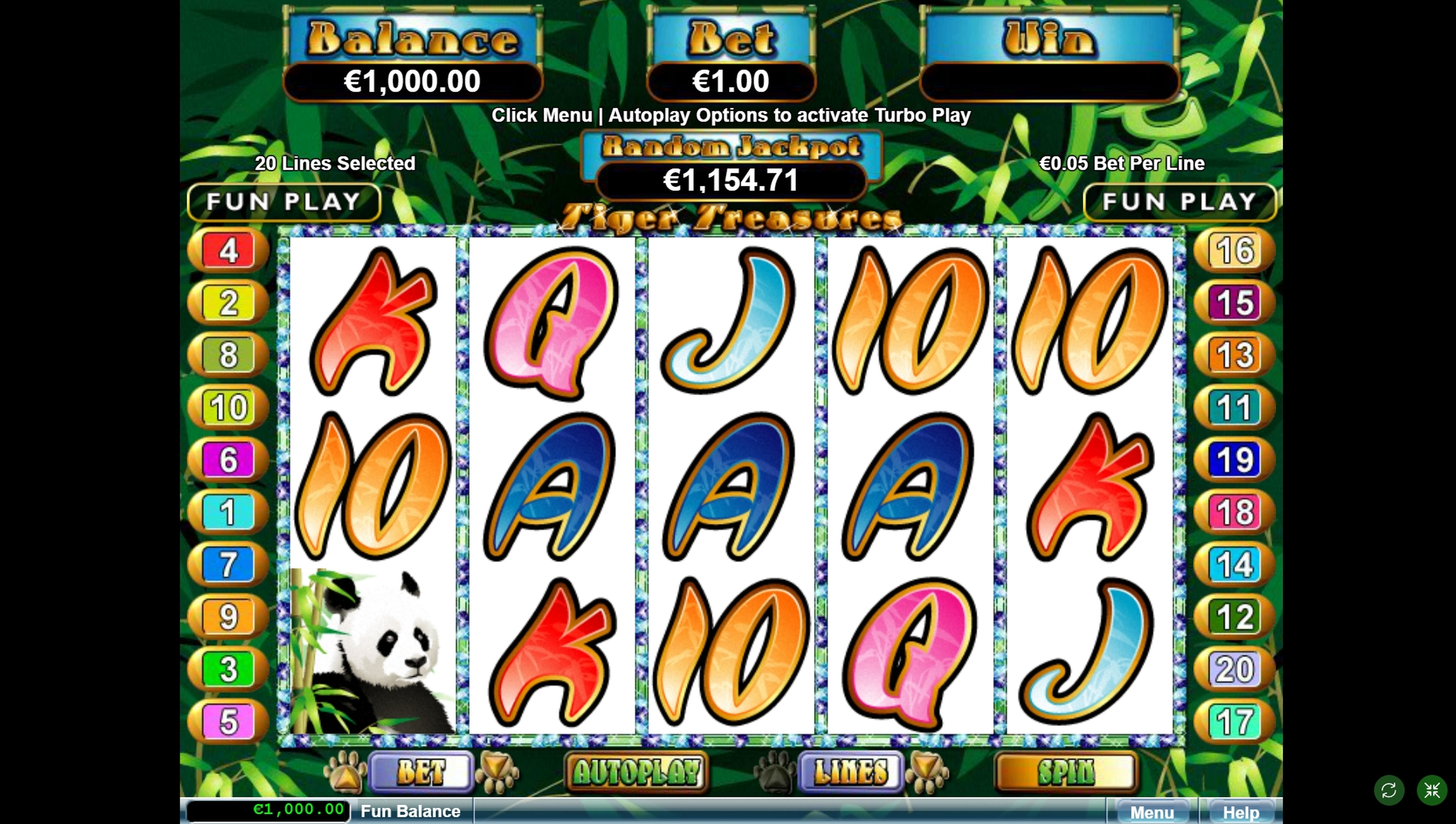 Reels in Tiger Treasures Slot Game by Real Time Gaming