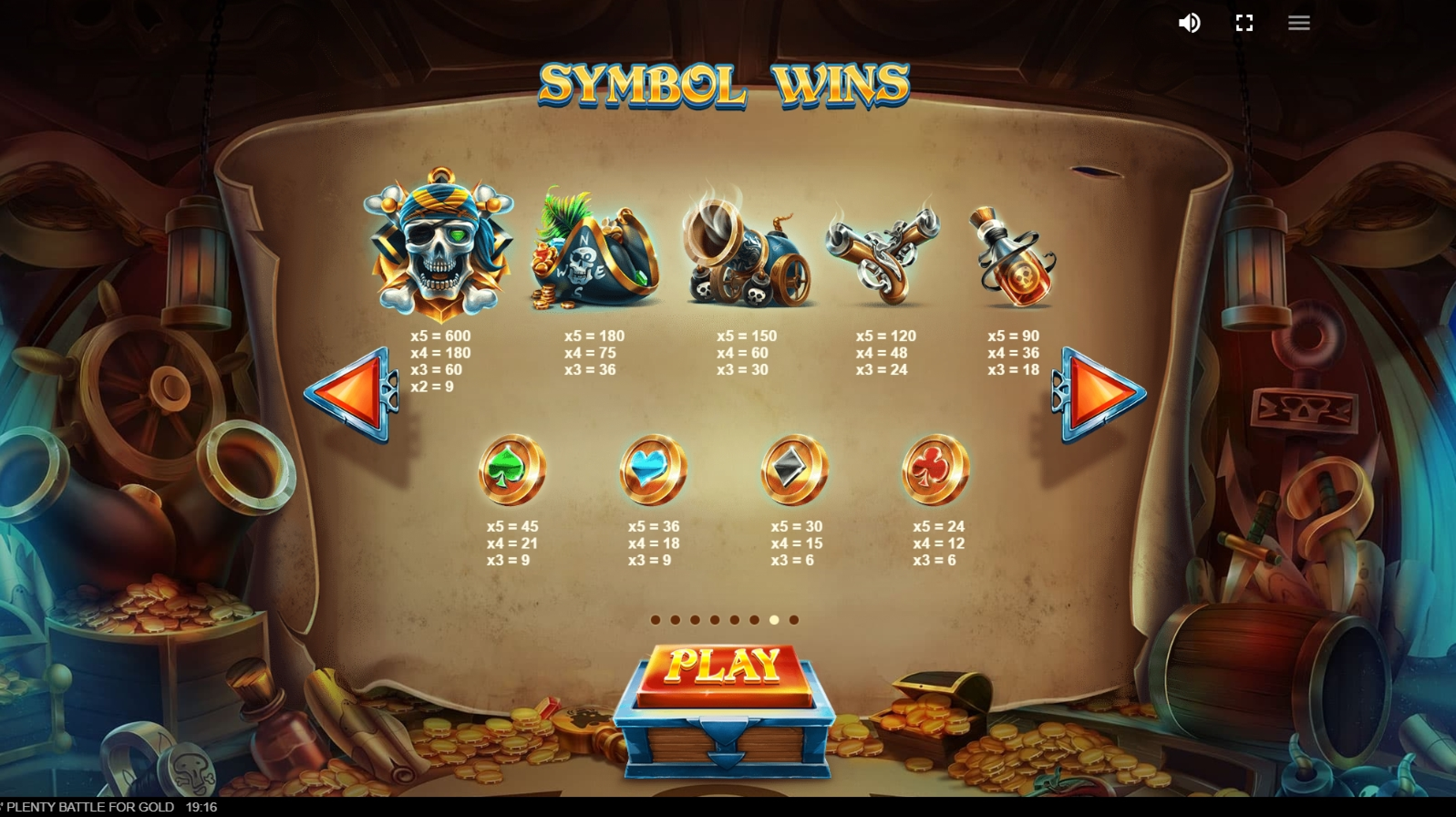 Info of Pirates Plenty Battle for Gold Slot Game by Red Tiger Gaming