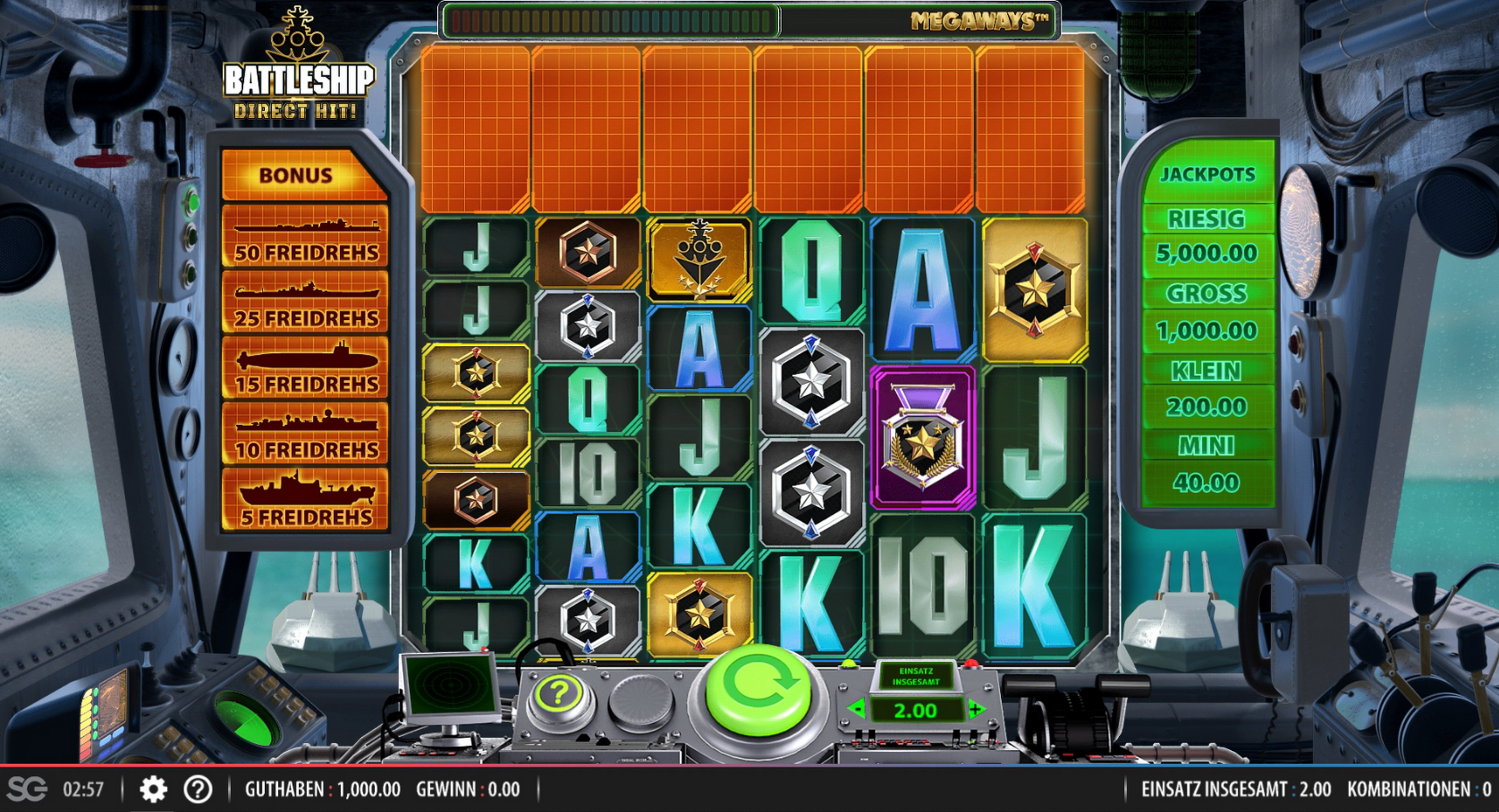 Reels in Battleship Direct Hit Slot Game by Red7