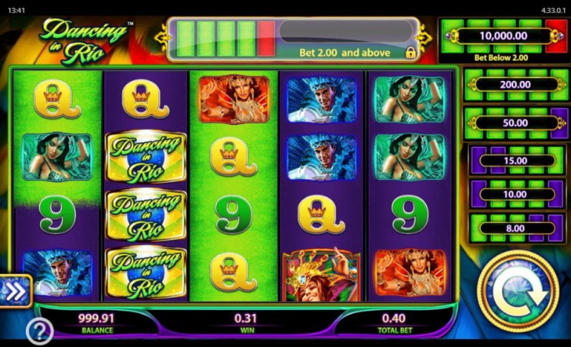 The Dancing in Rio Online Slot Demo Game by WMS