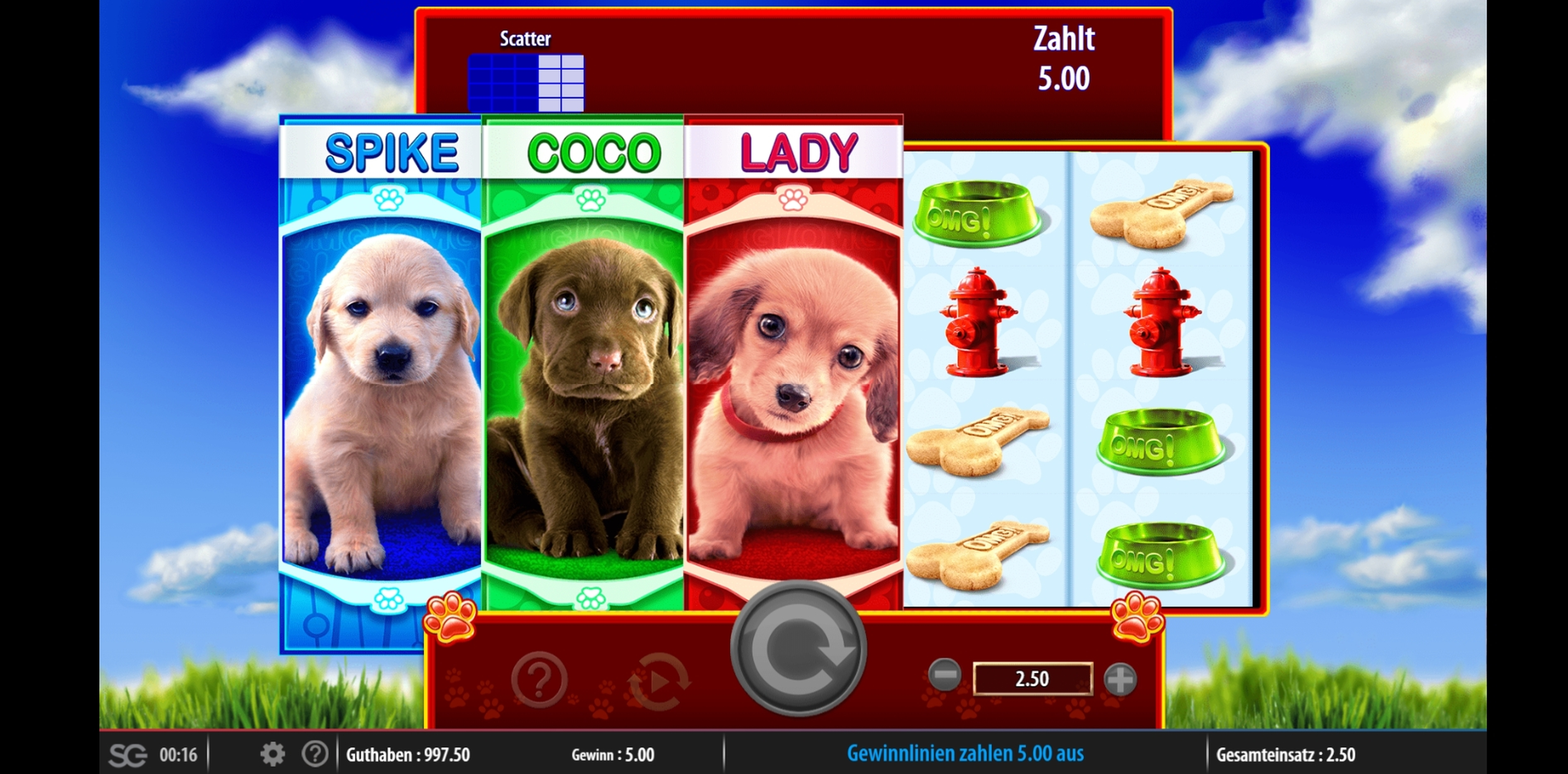 Win Money in OMG! Puppies Free Slot Game by WMS