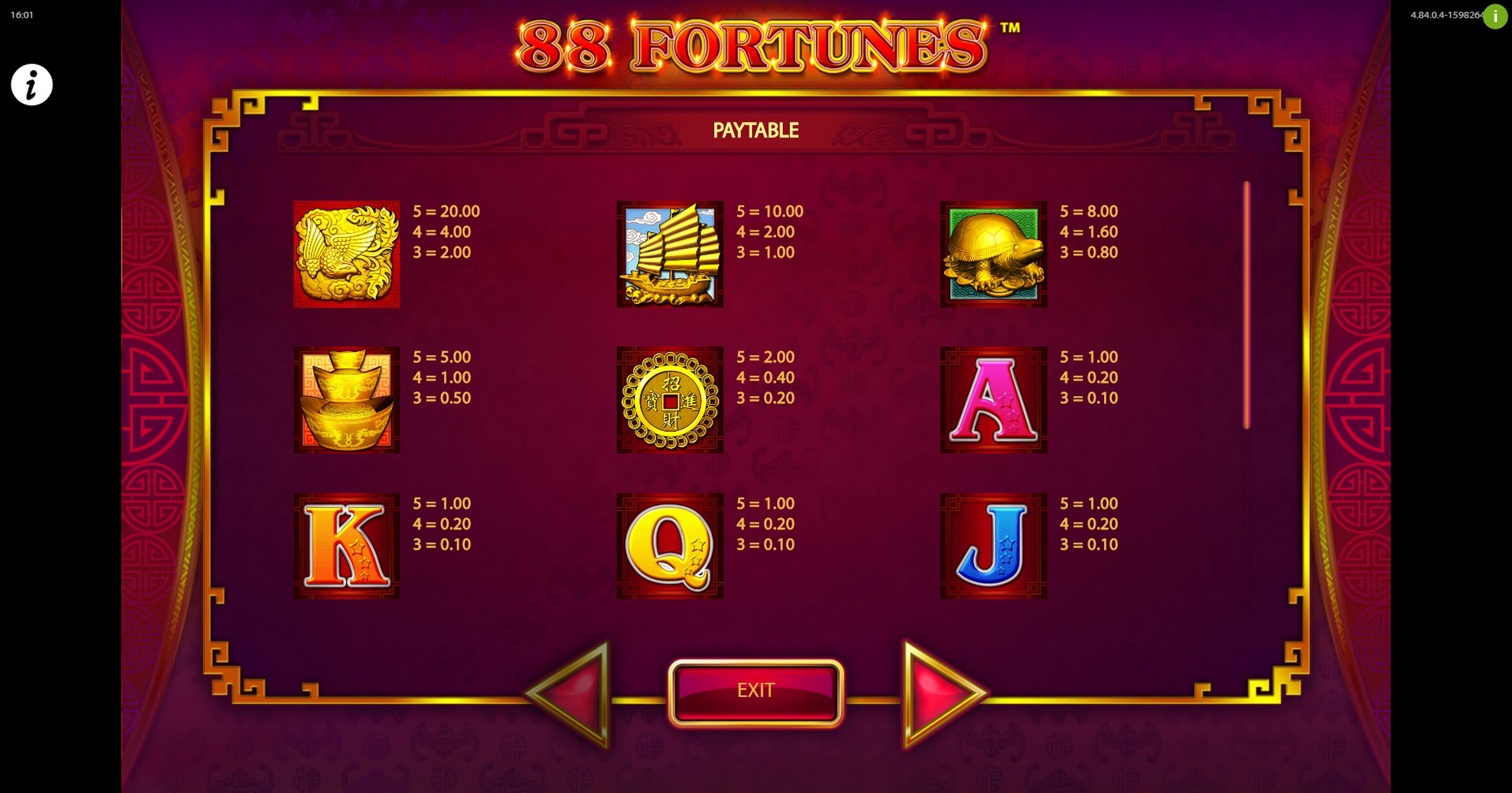 Info of 88 Fortunes Slot Game by SG