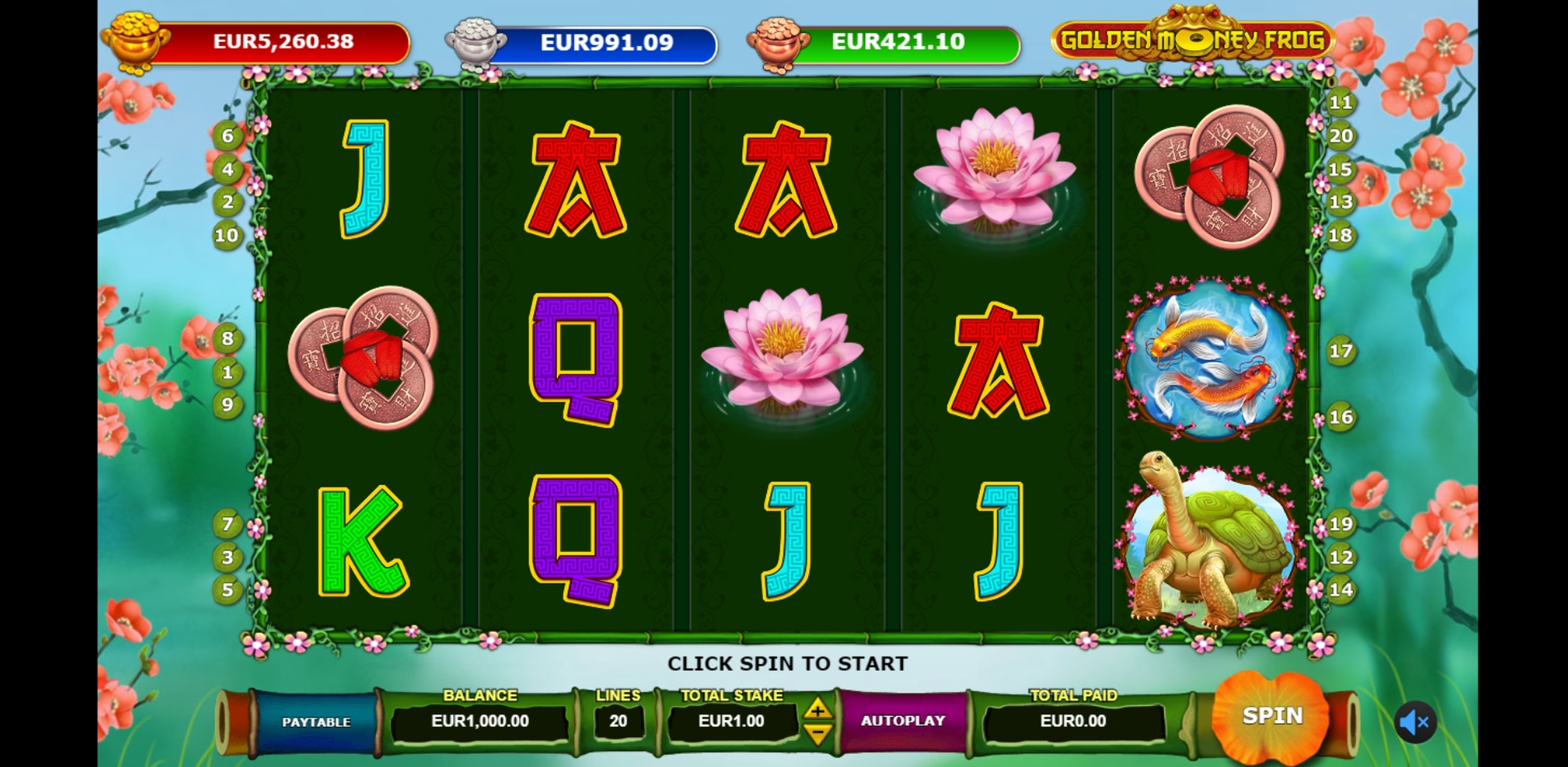 Reels in Golden Money Frog Slot Game by Sigma Gaming