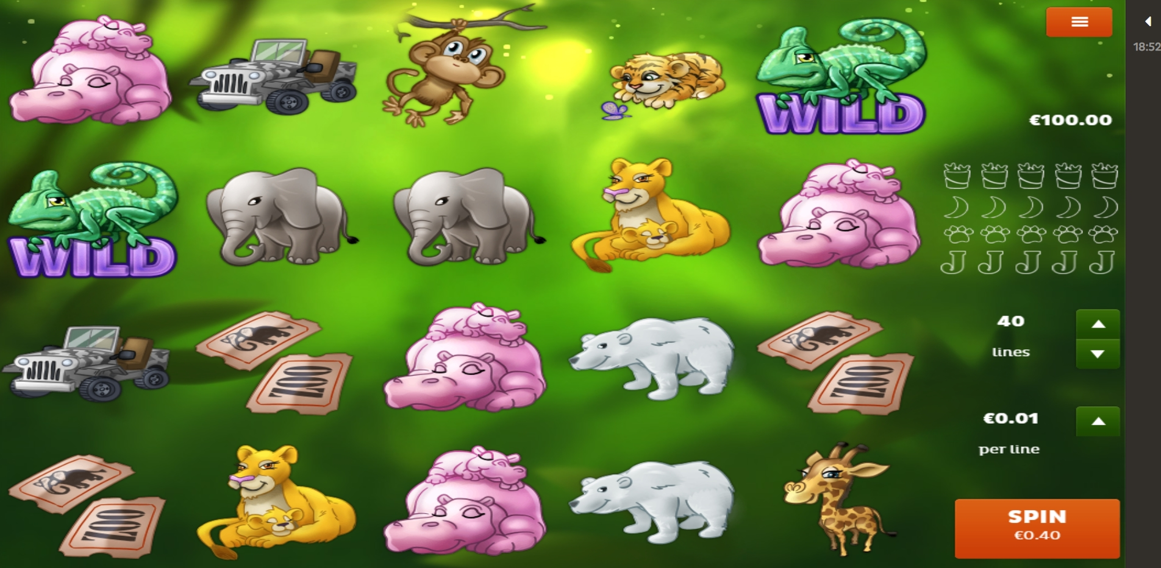 Reels in Zoo Slot Game by Spigo