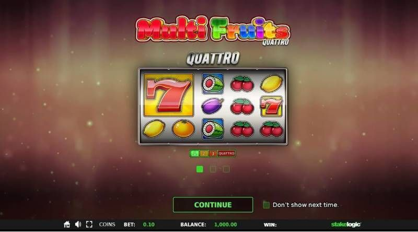 The Multi Fruits Quattro Online Slot Demo Game by StakeLogic