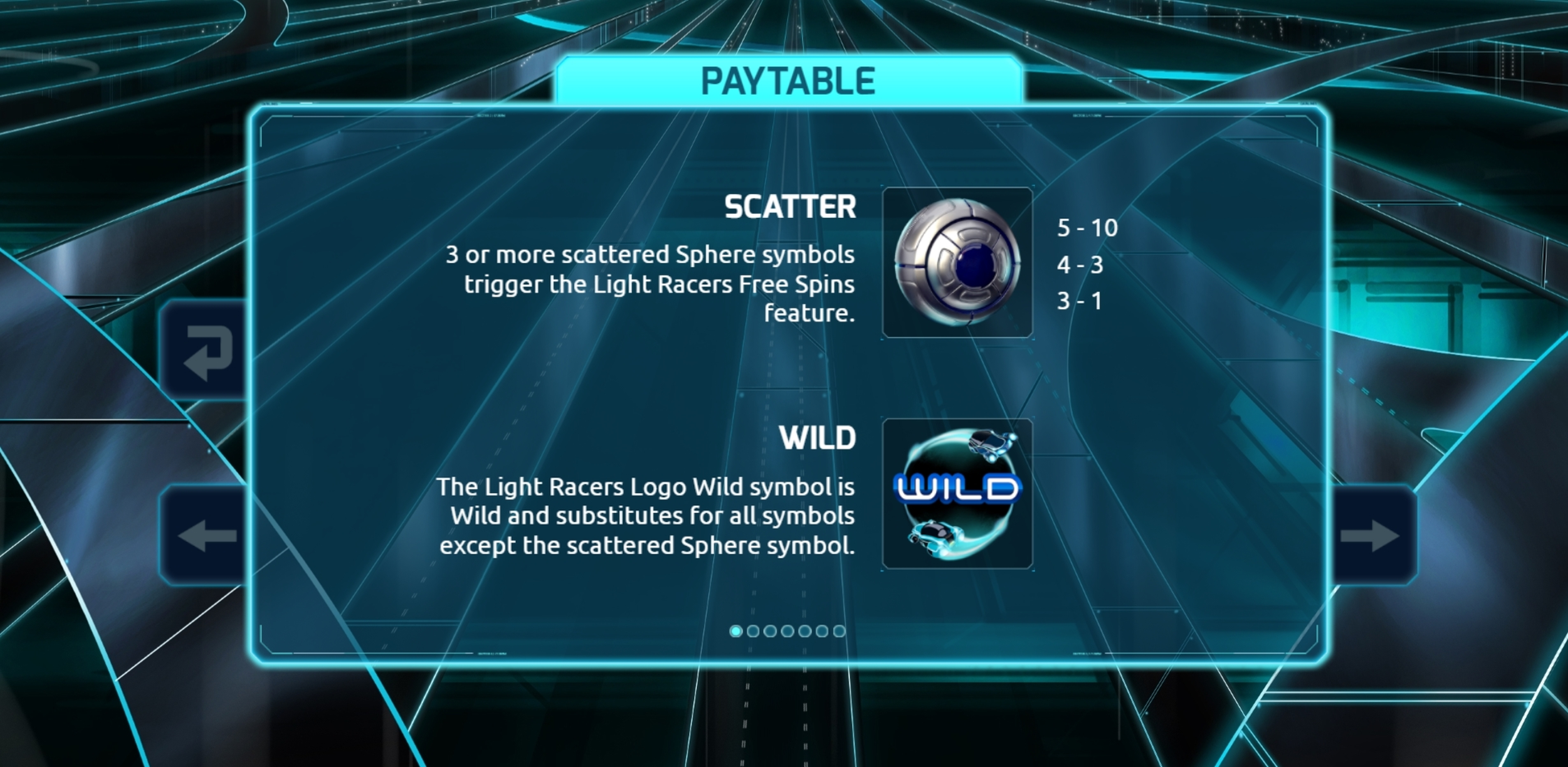 Info of Light Racers Slot Game by The Games Company