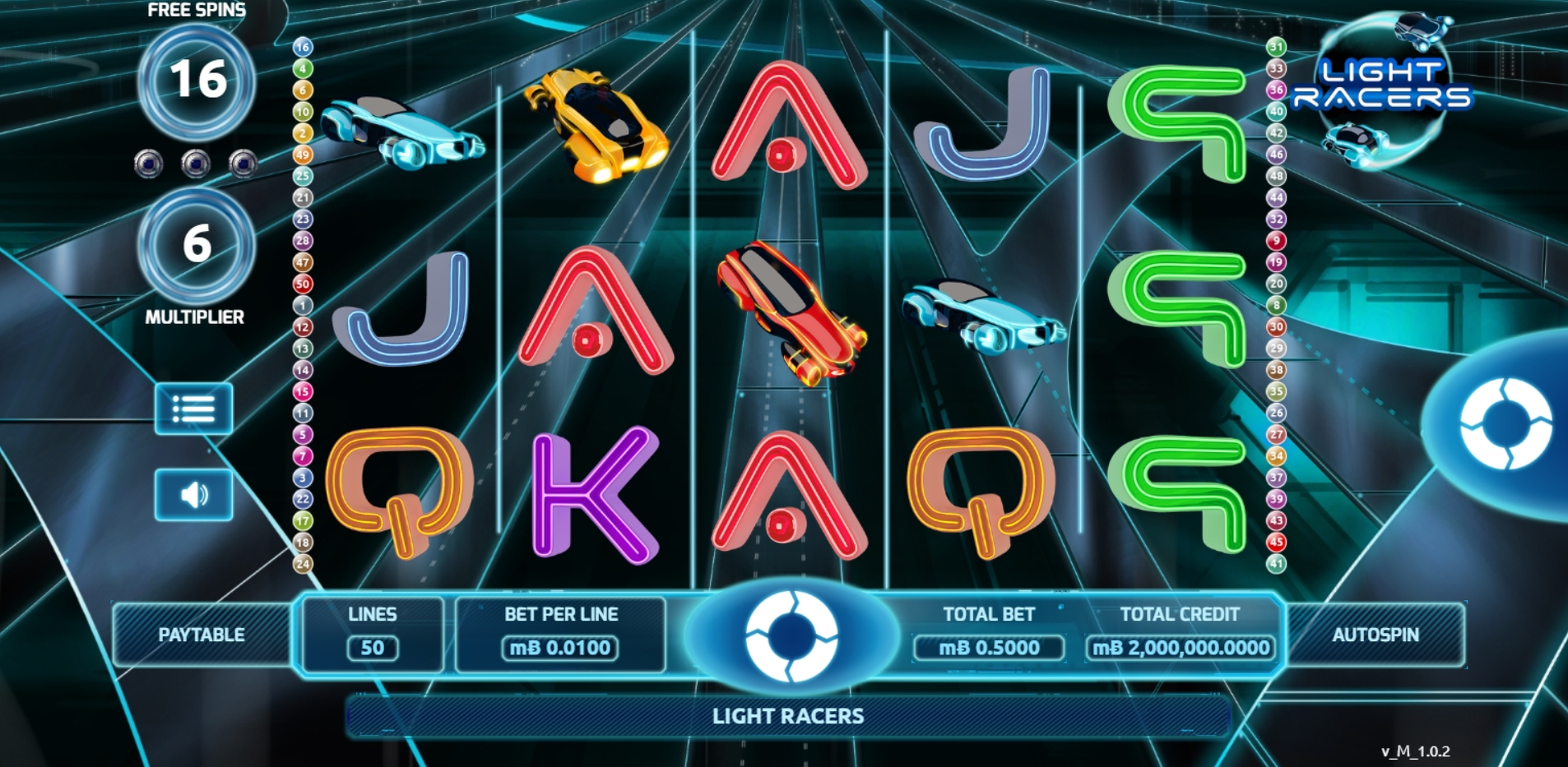 Reels in Light Racers Slot Game by The Games Company