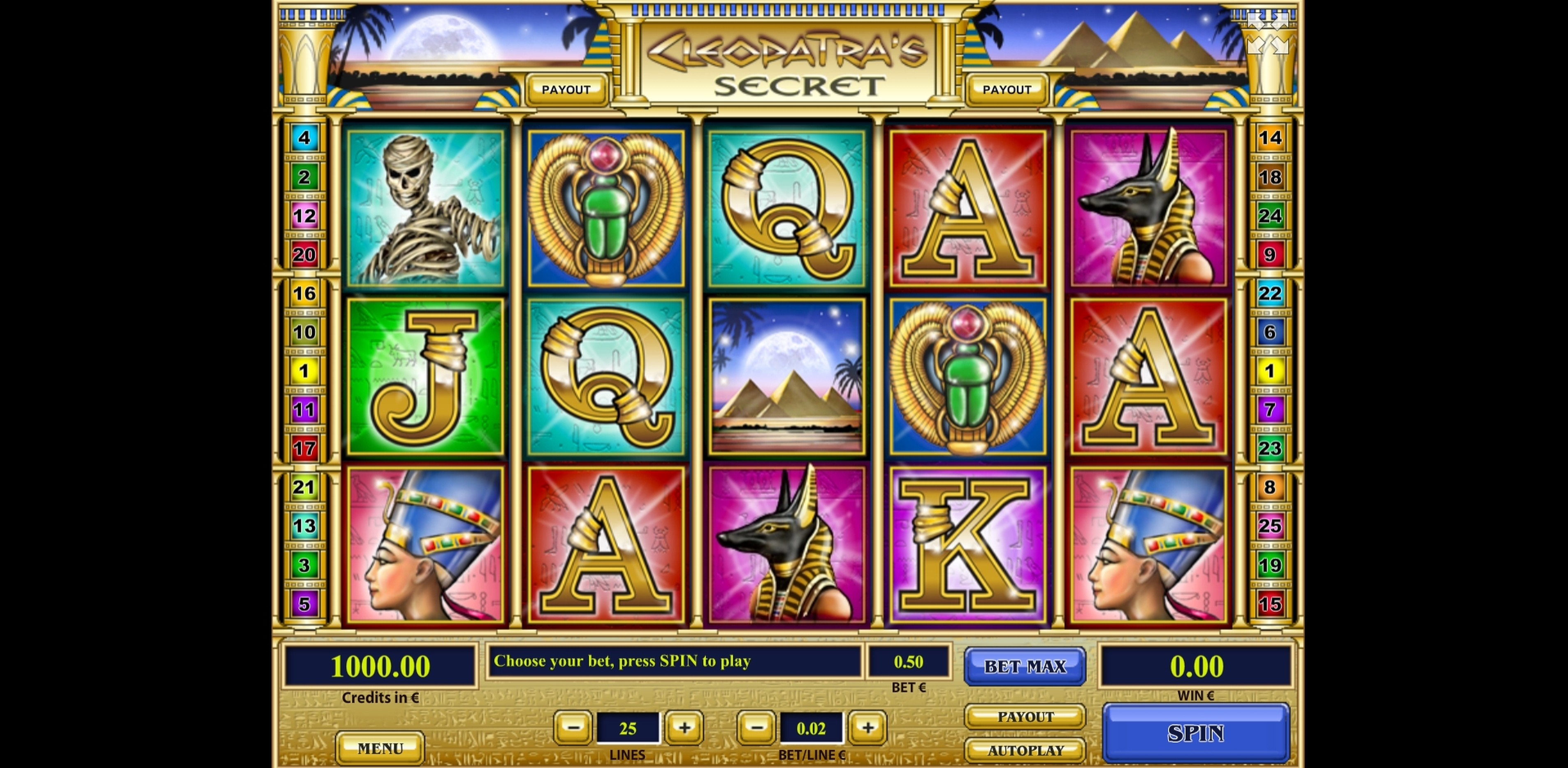 Reels in Cleopatra's Secret Slot Game by Tom Horn Gaming