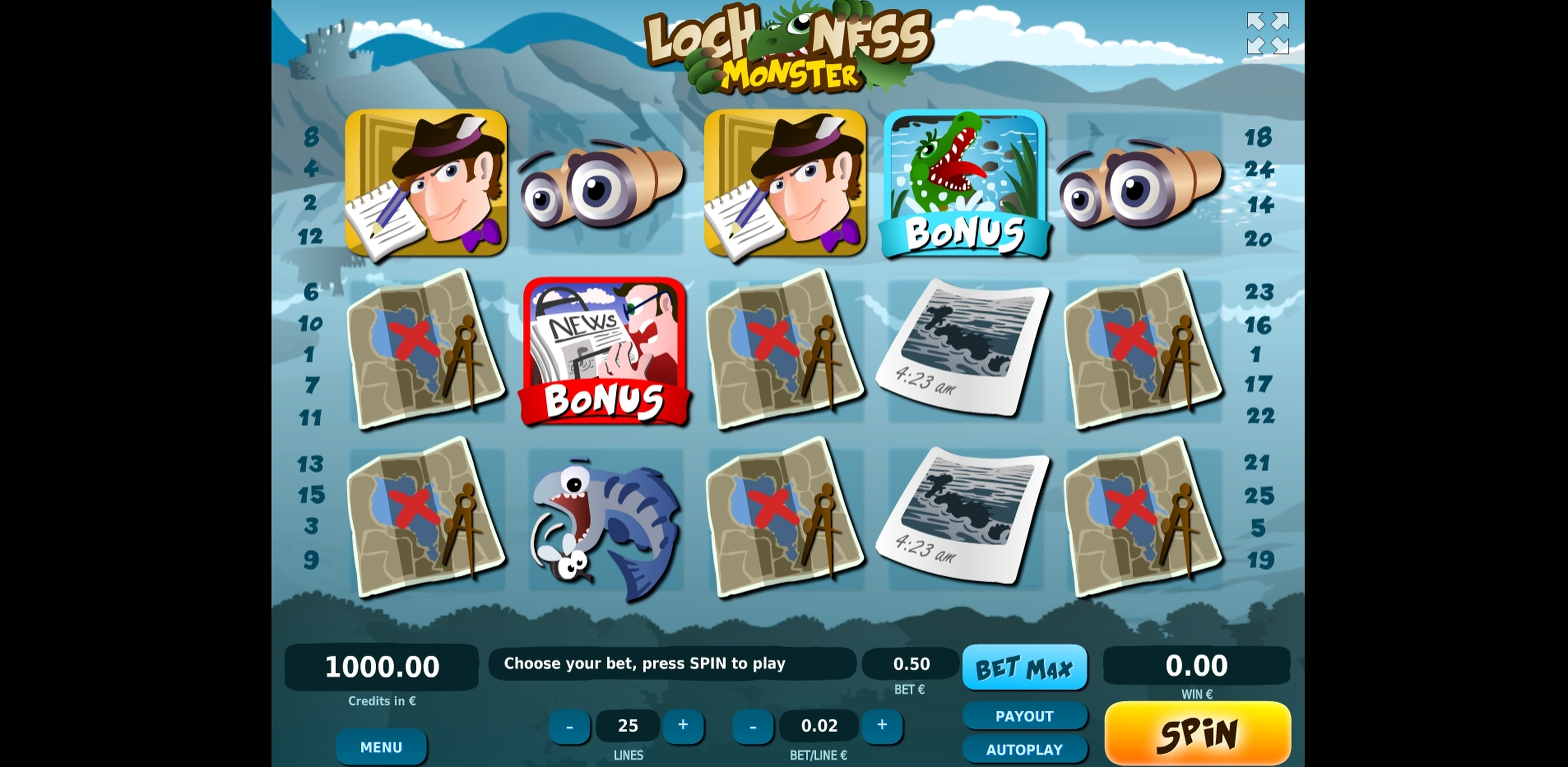 Reels in Loch Ness Monster Slot Game by Tom Horn Gaming