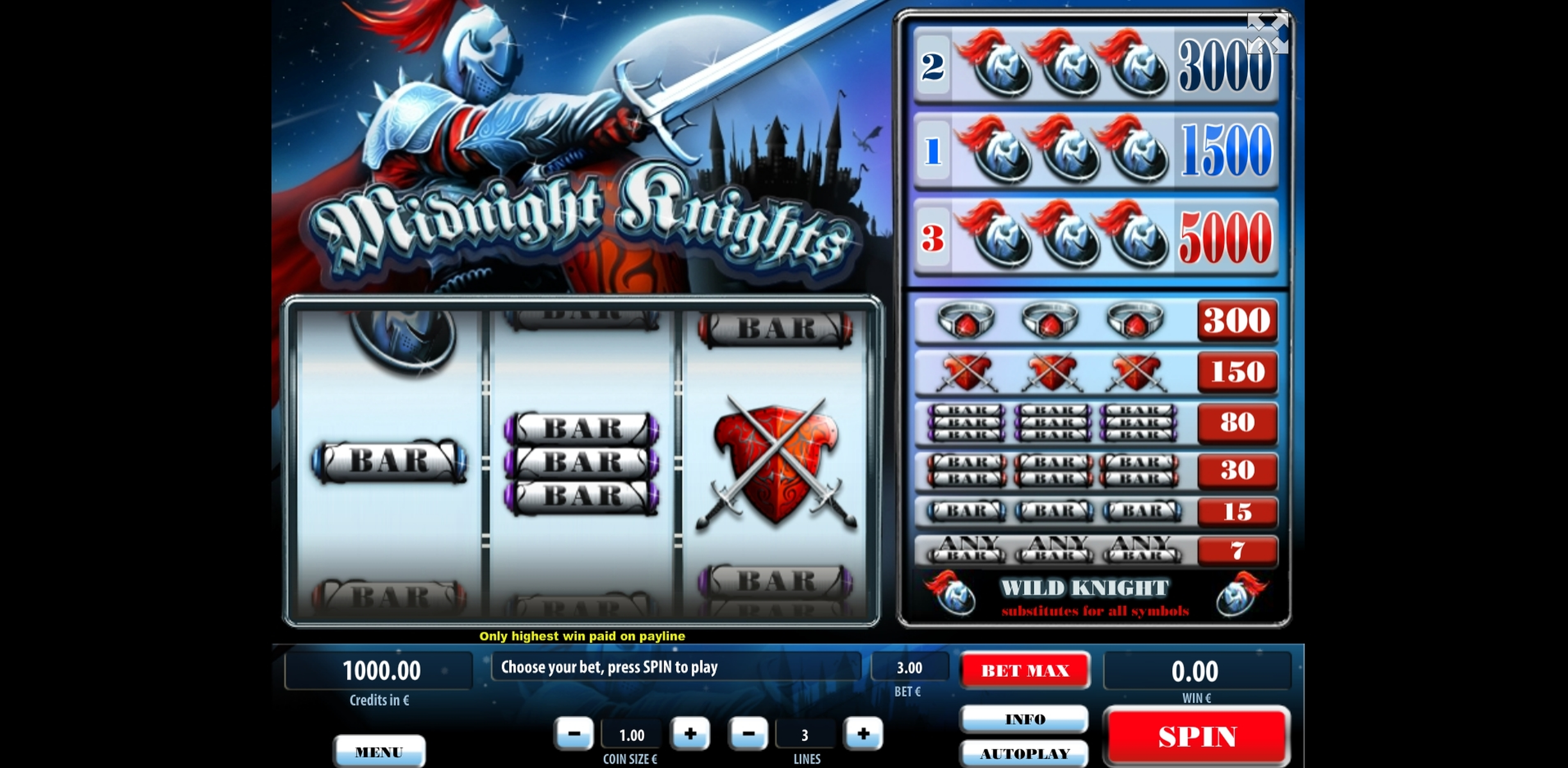 Reels in Midnight Knights Slot Game by Tom Horn Gaming