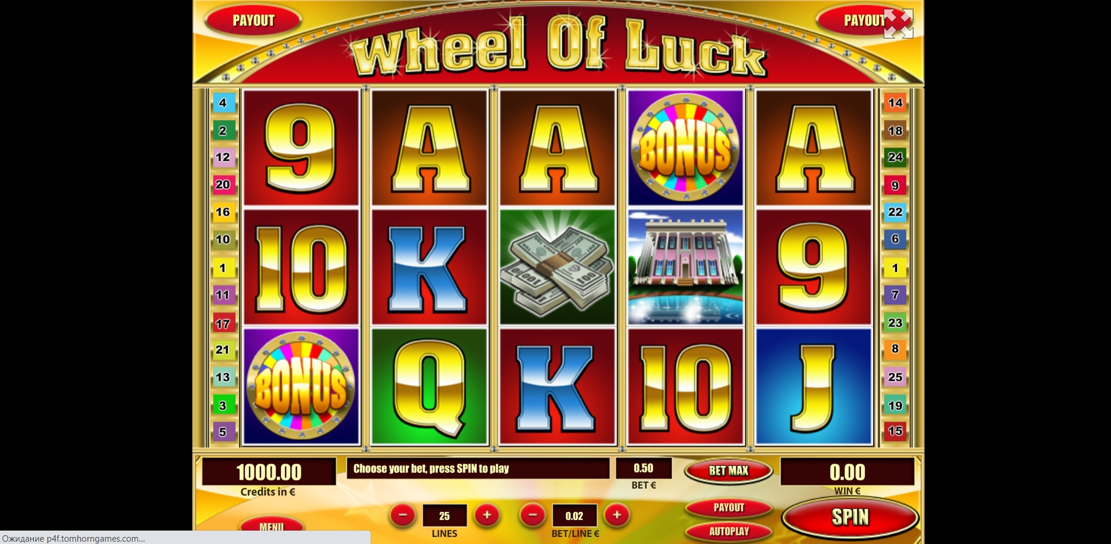 Reels in Wheel of Luck Slot Game by Tom Horn Gaming