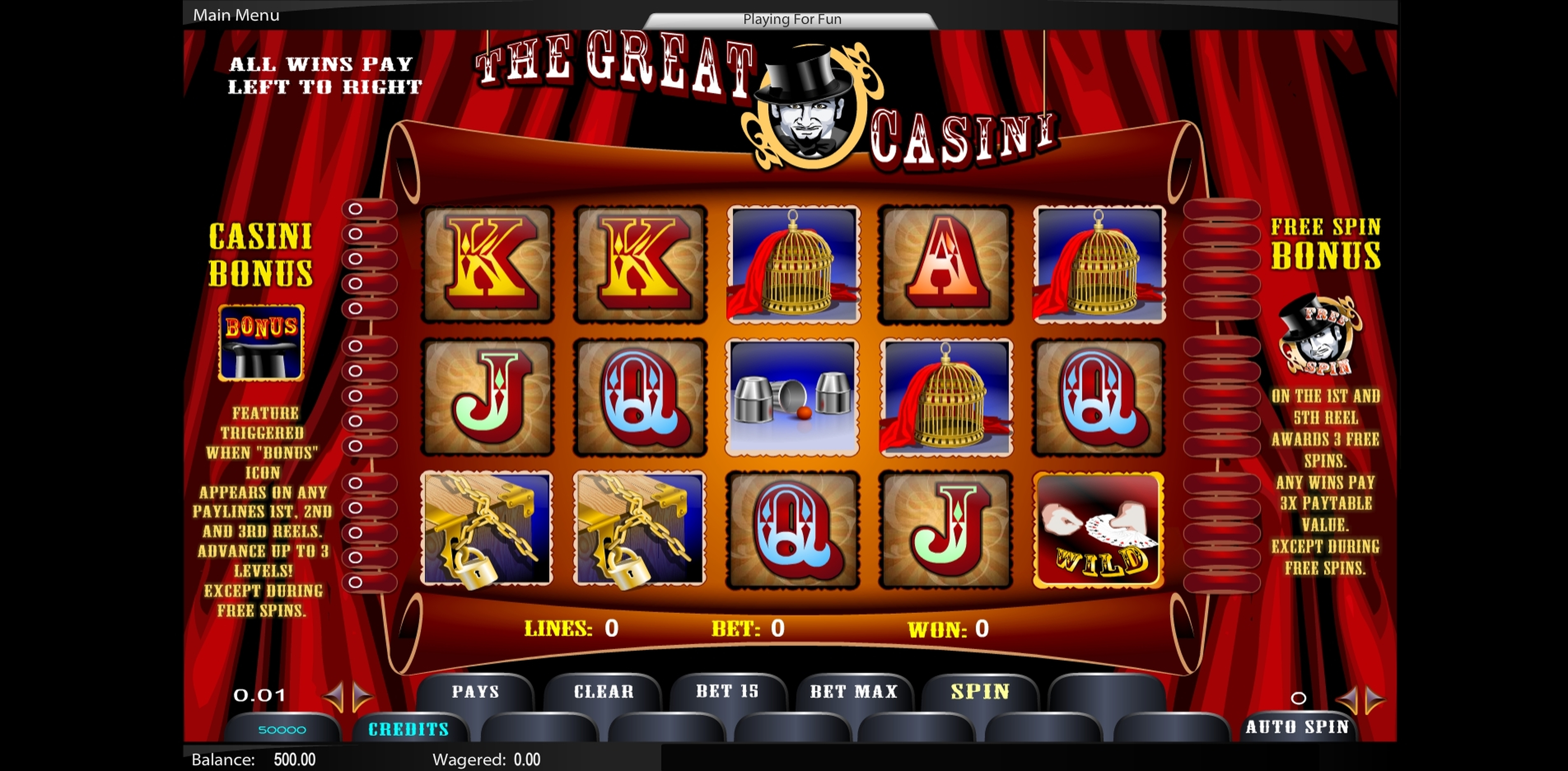Reels in The Great Casini Slot Game by Top Trend Gaming