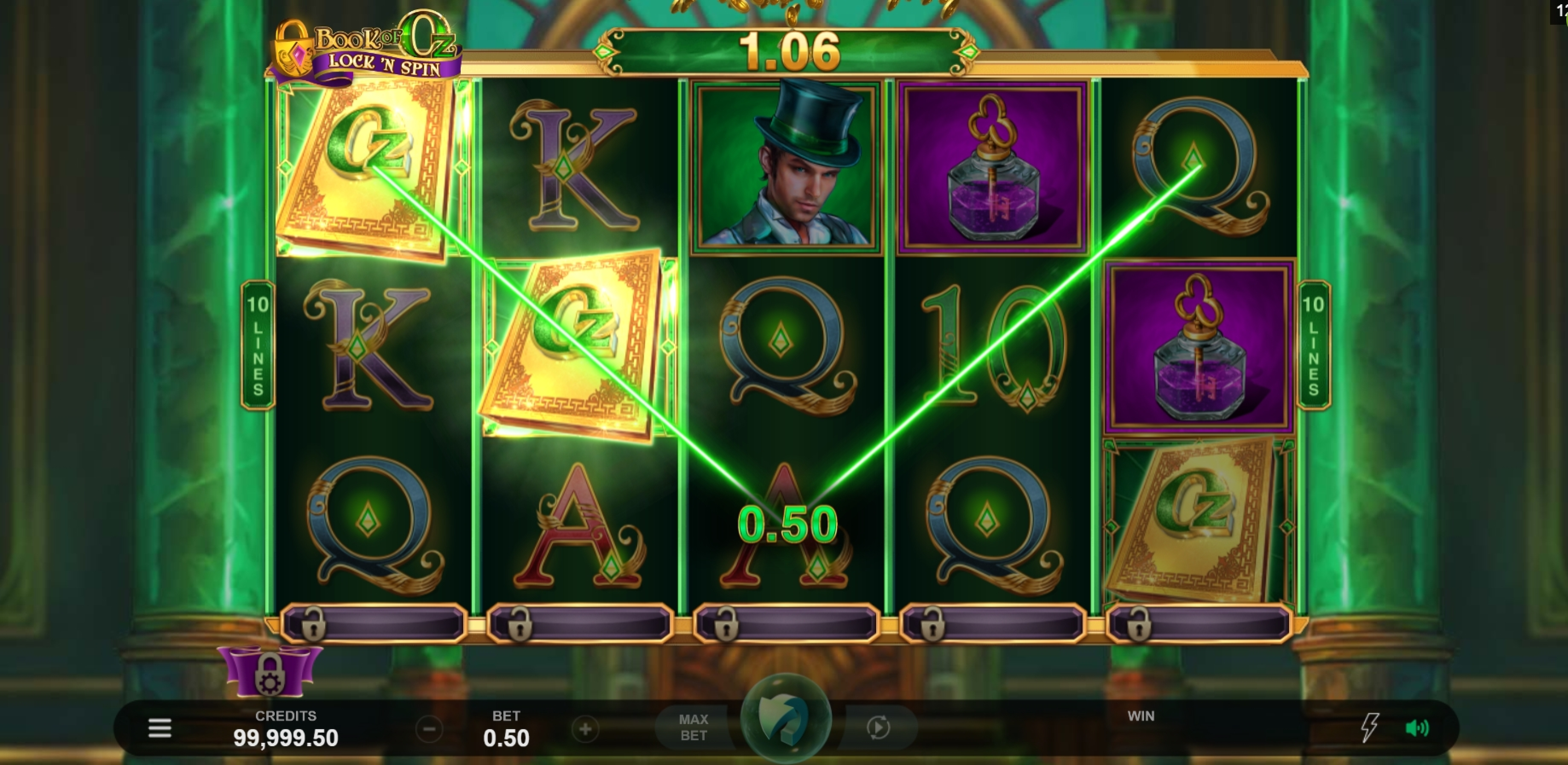 Win Money in Book of Oz Lock 'N Spin Free Slot Game by Triple Edge Studios