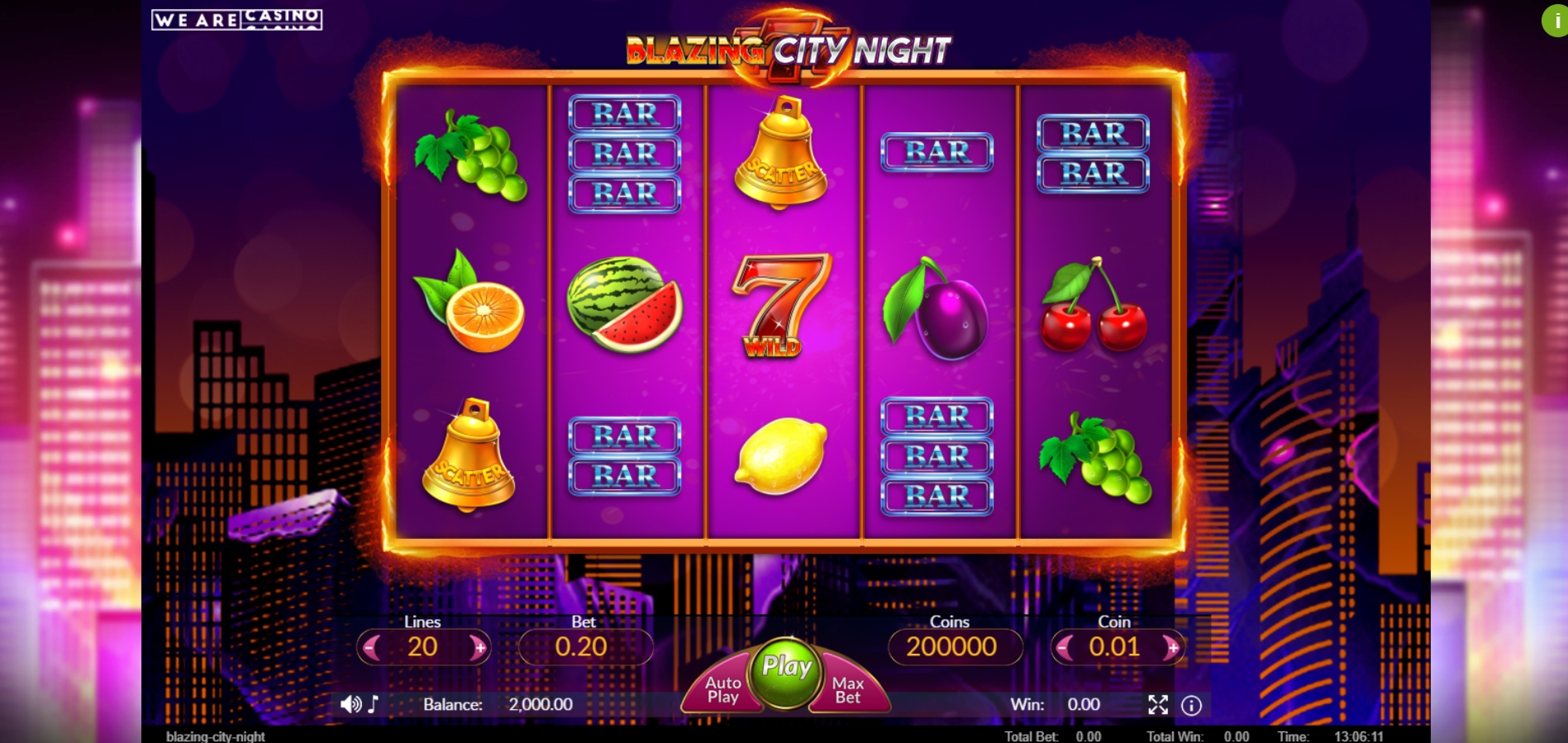 Reels in Blazing City Night Slot Game by We Are Casino