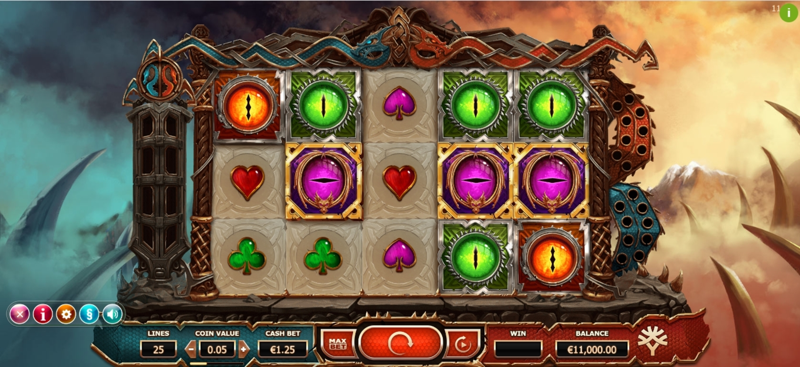 Reels in Double Dragons Slot Game by Yggdrasil