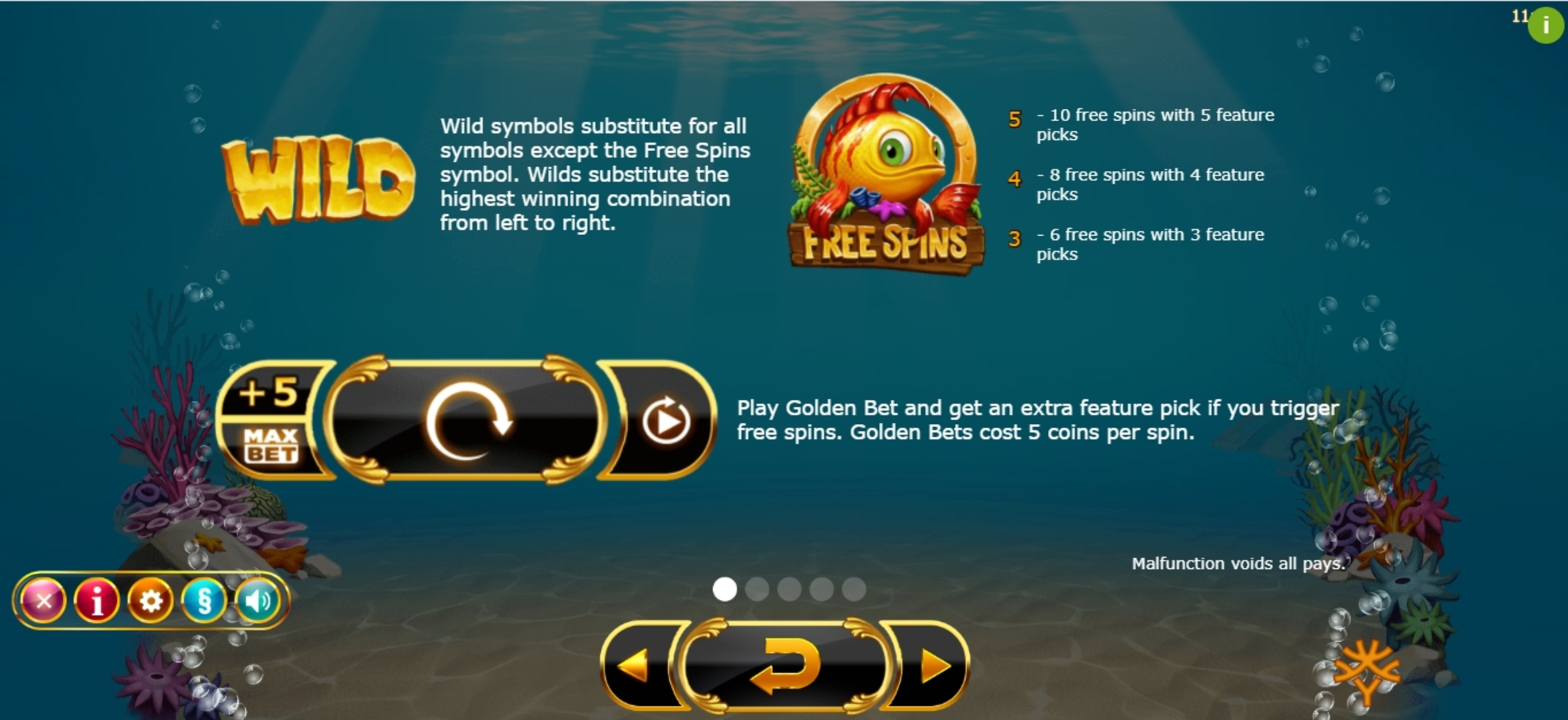 Info of Golden Fish Tank Slot Game by Yggdrasil