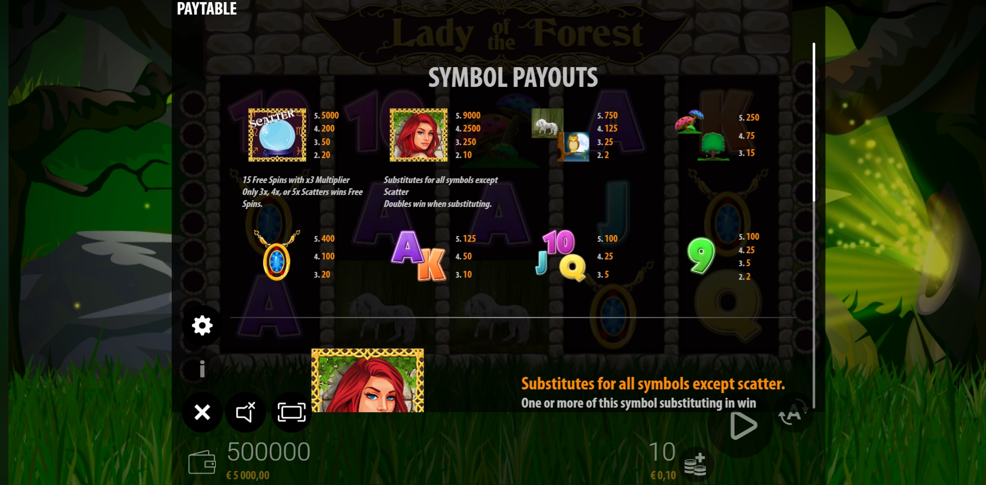 Info of Lady of the Forest Slot Game by ZEUS PLAY